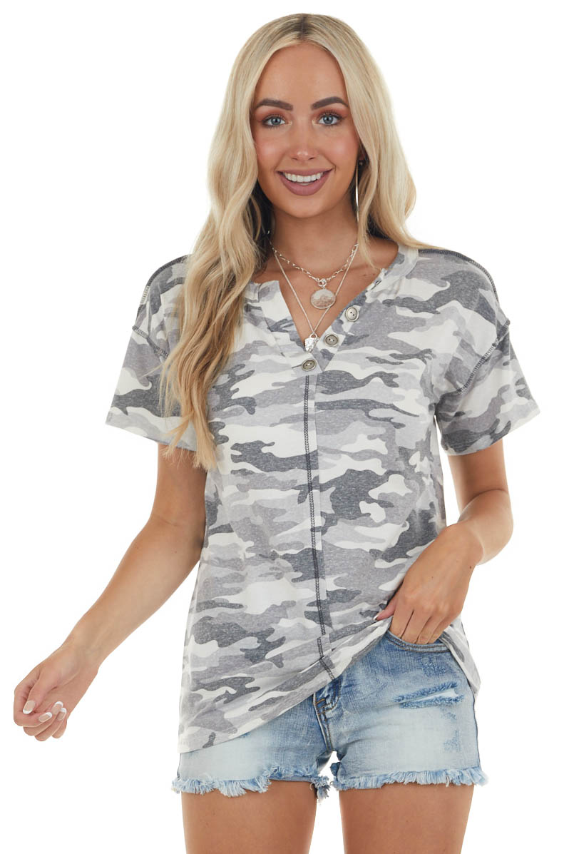 Heathered Graphite Camo Top with Button Detail
