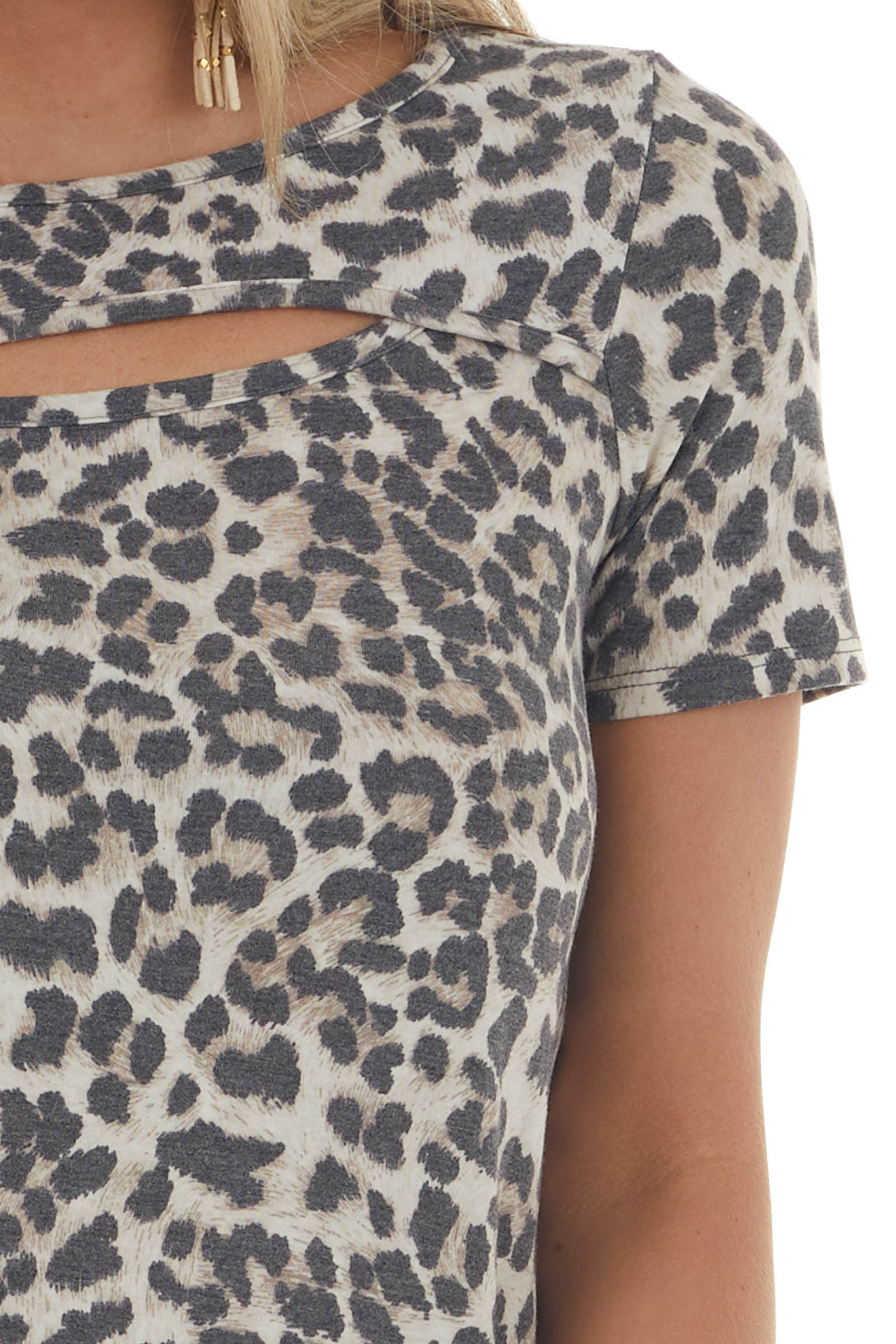 Oatmeal Leopard Print Chest Cut Out Knit Top