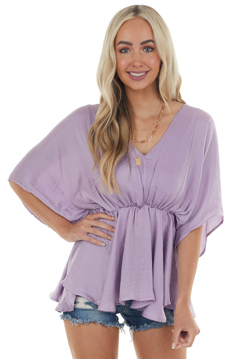 Lilac Flowy Drop Waist Blouse with Short Loose Sleeves