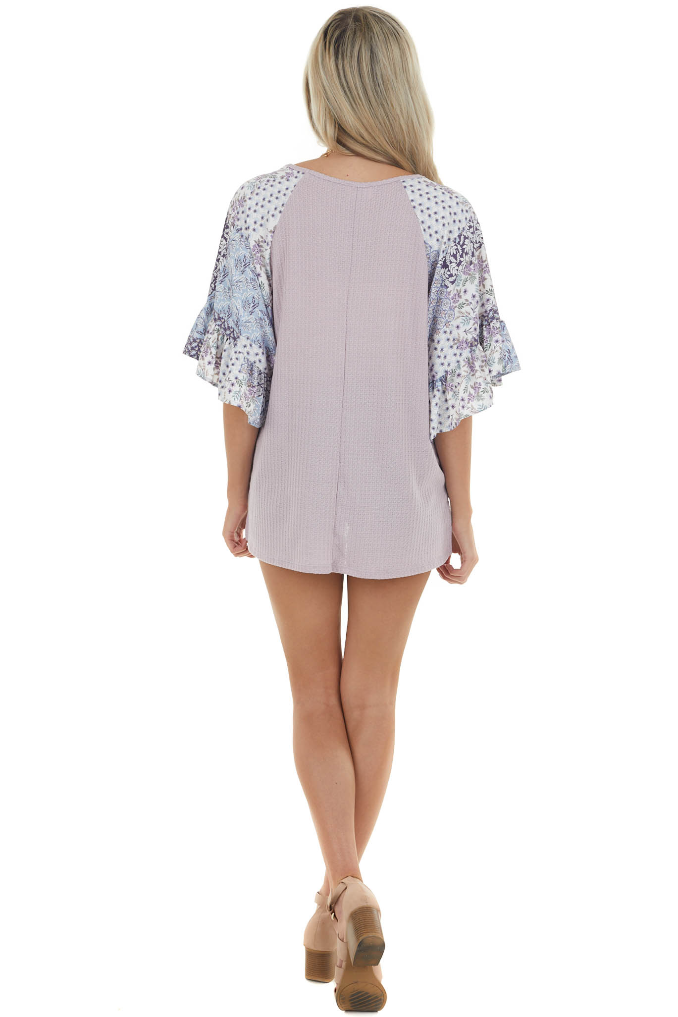 Thistle Waffle Knit Top with Short Contrasting Sleeves