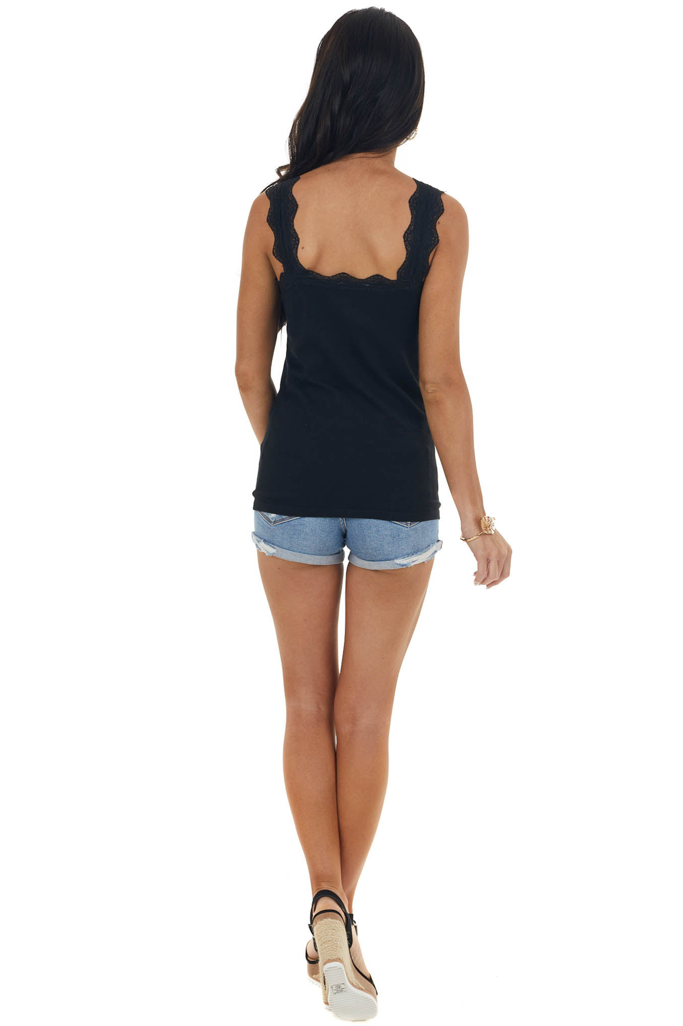 Black Ribbed Criss Cross Neck Cami with Lace