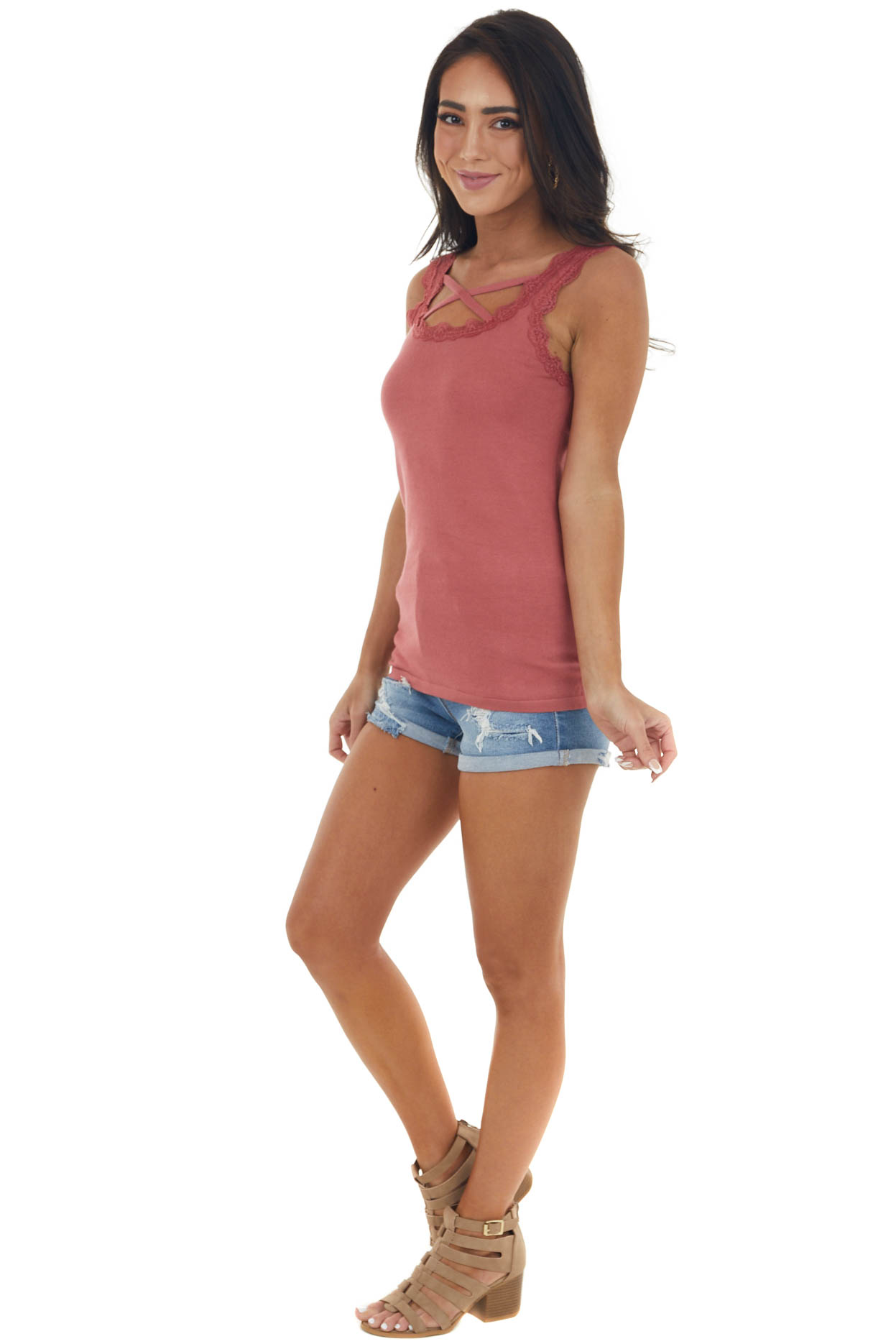 Marsala Ribbed Criss Cross Neck Cami with Lace