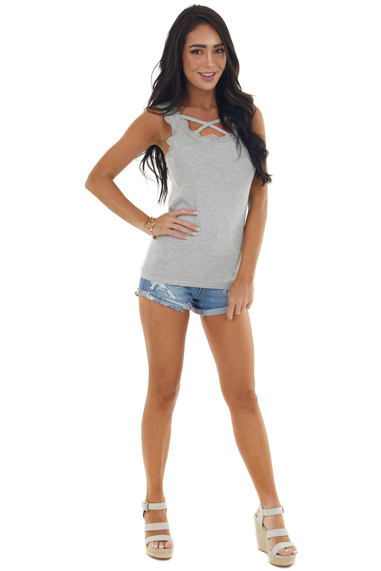 Dove Ribbed Criss Cross Neck Cami with Lace