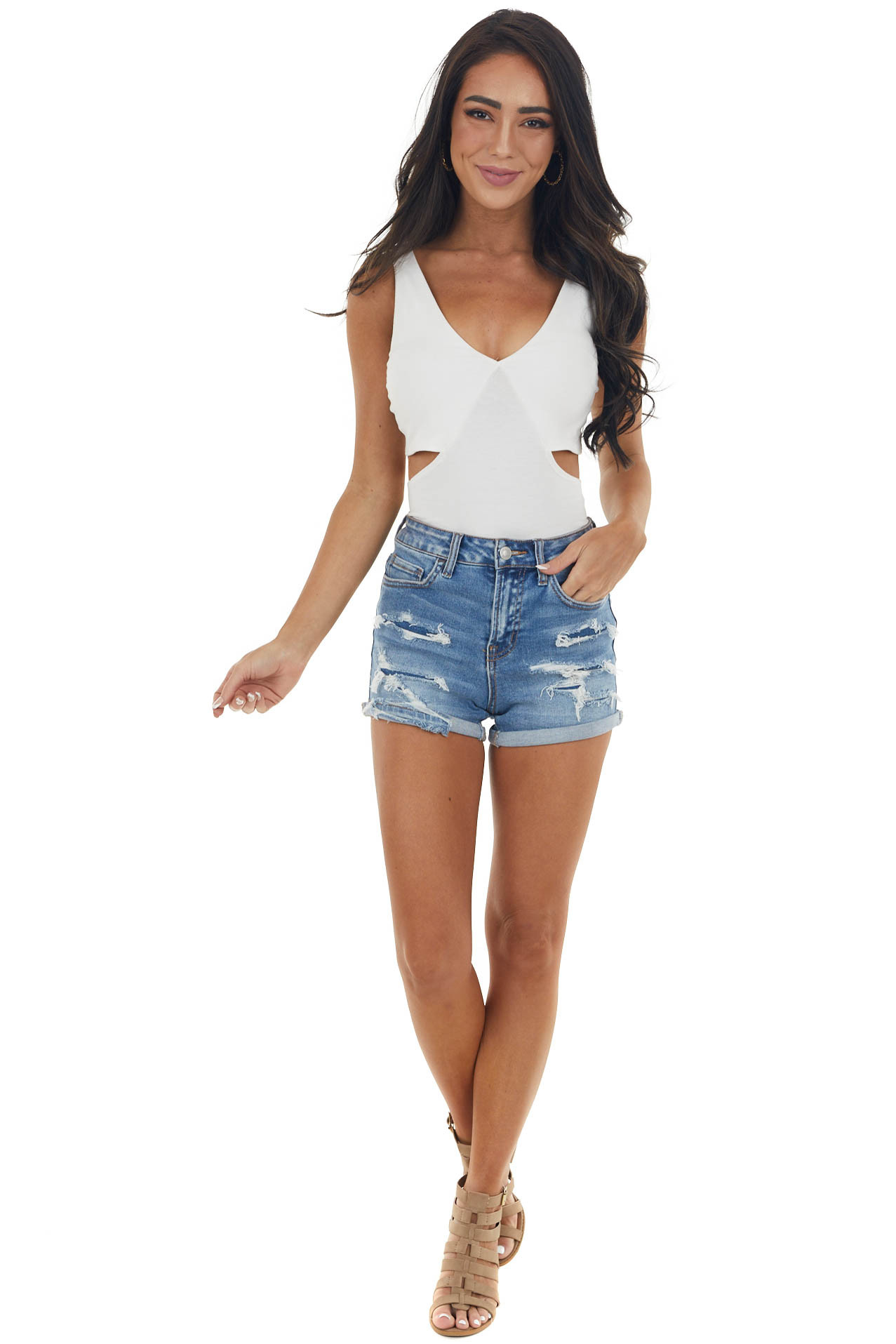 Ivory Sleeveless Bodysuit with Cut Out Detail