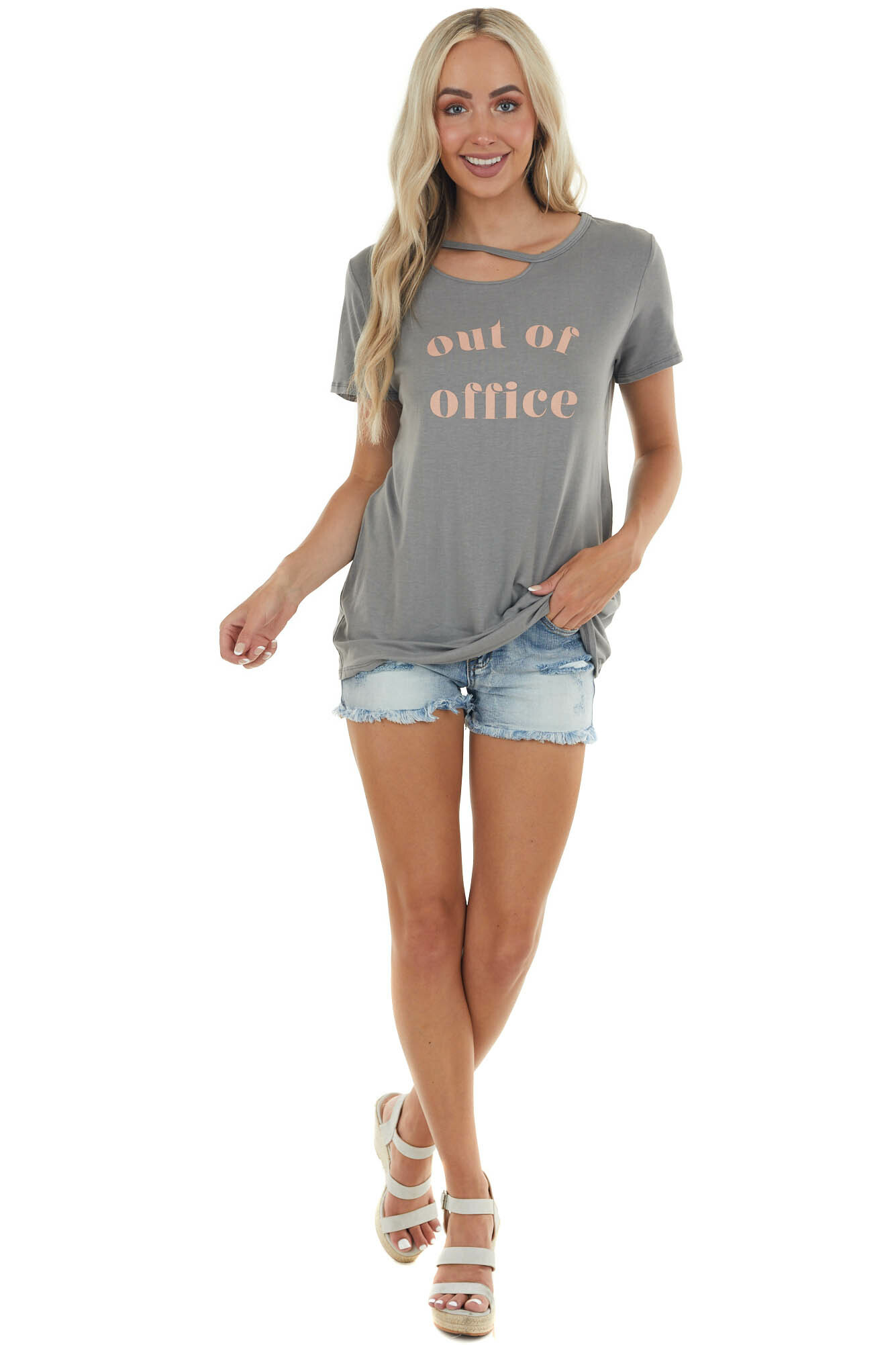 Stone 'Out of Office' Top with Cut Out Details