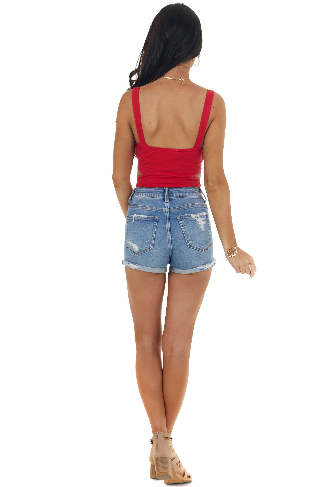 Cherry Sleeveless Bodysuit with Cut Out Detail