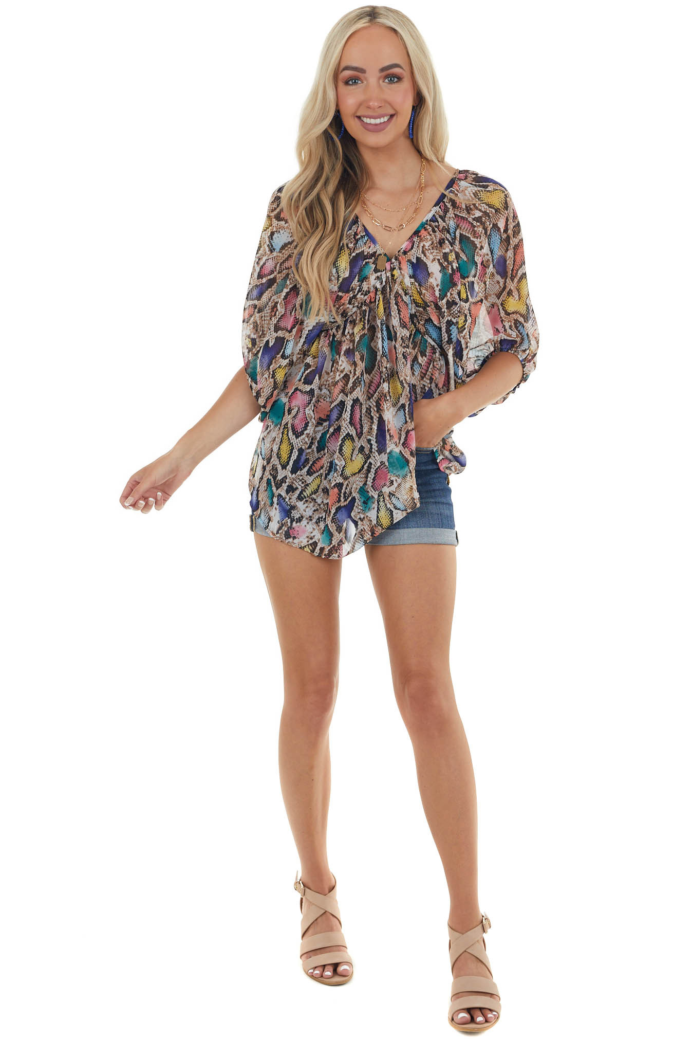 Taupe and Multicolor Snakeskin Flowy Blouse