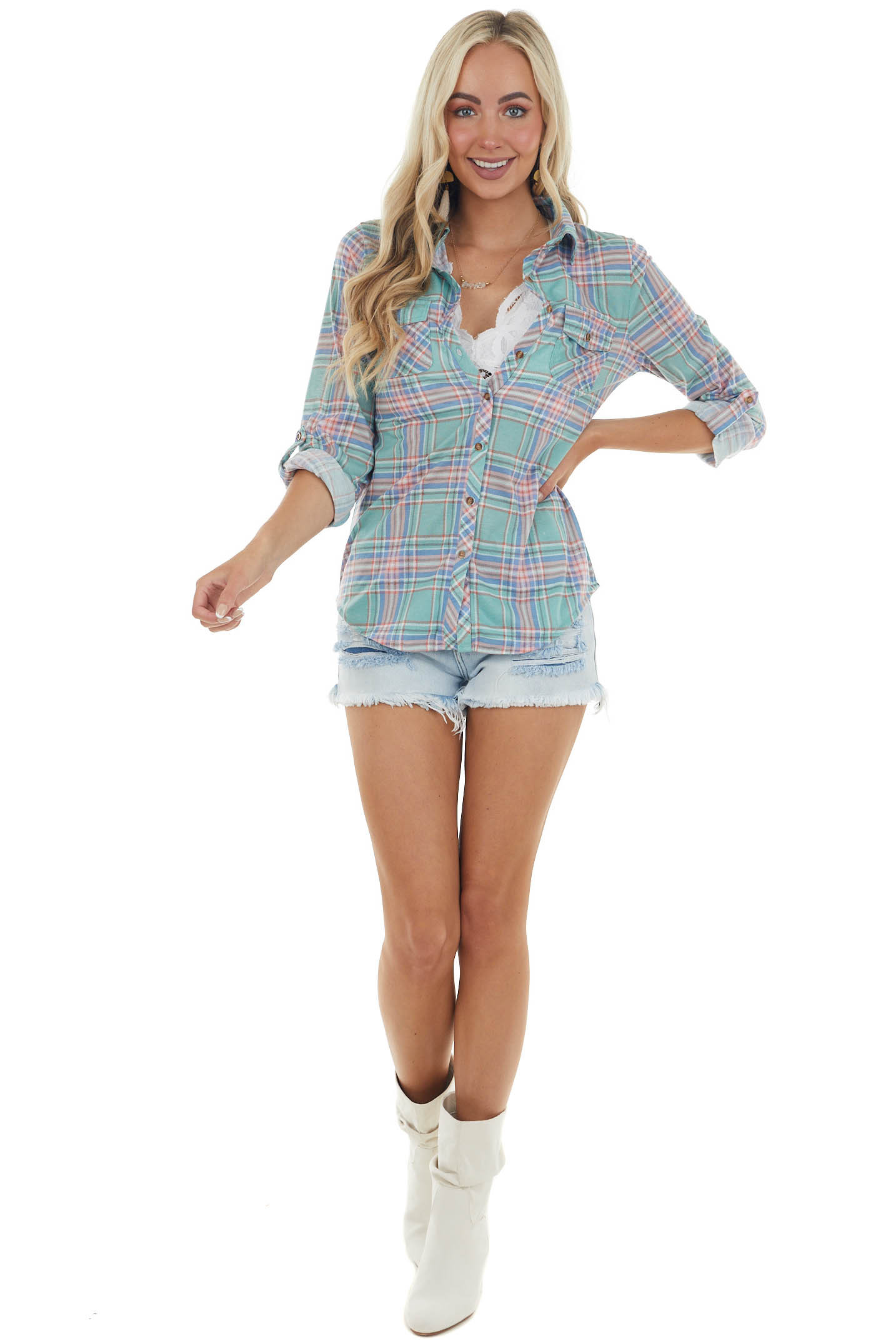 Juniper and Blush Plaid Top with Chest Pocket