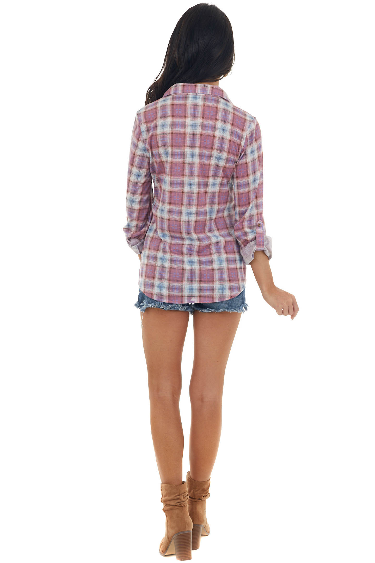 Orchid and Iris Plaid Top with Chest Pocket