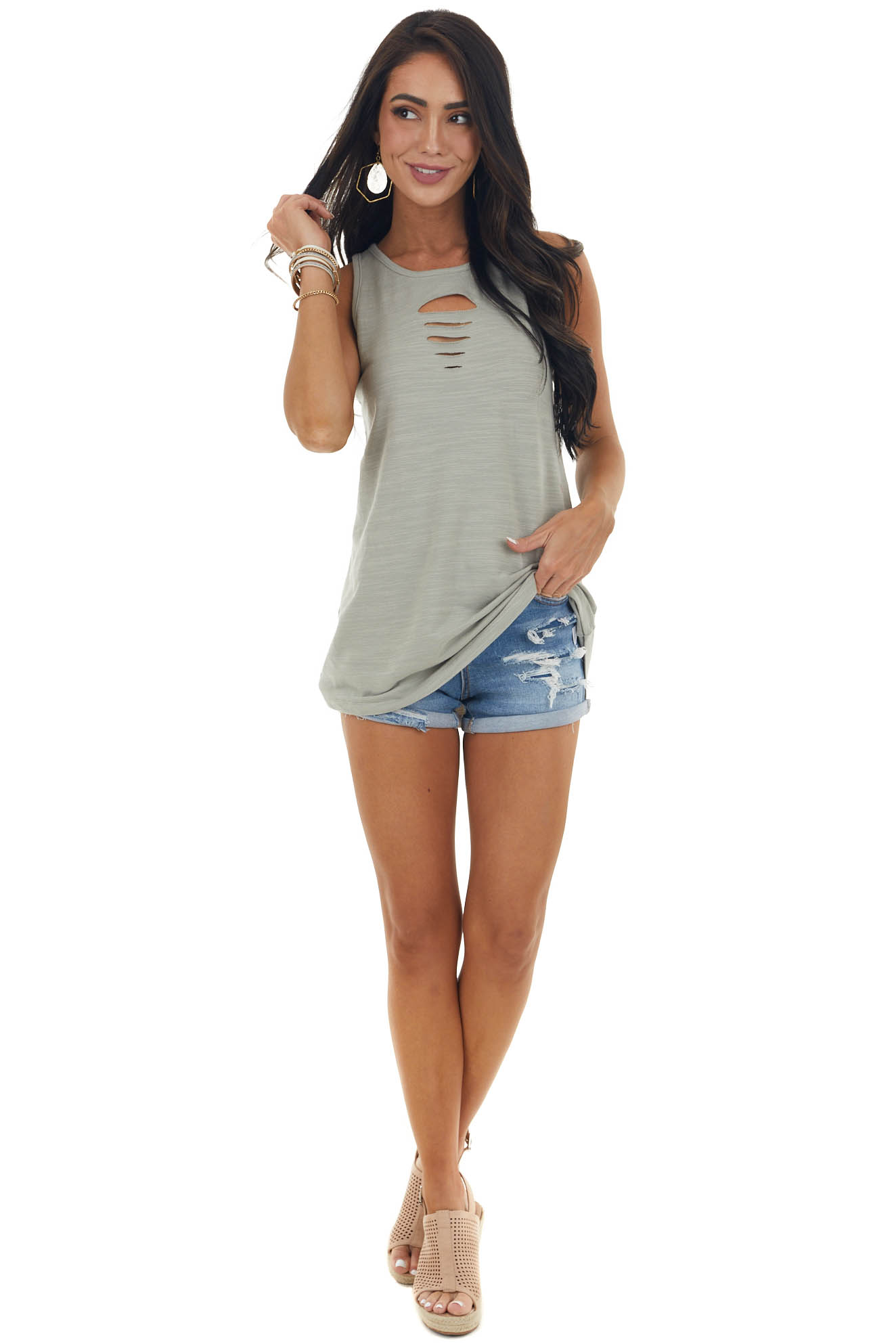 Sage Knit Tank Top with Ladder Cut Outs