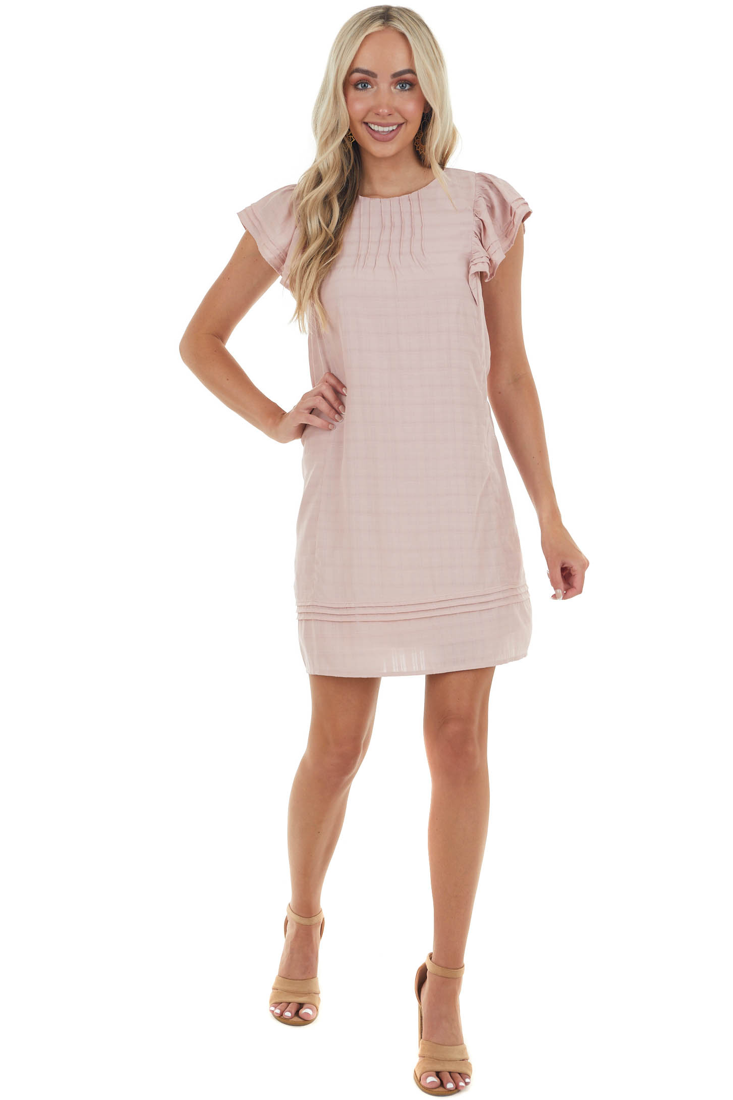 Dusty Blush A-Line Dress with Frill Detailing