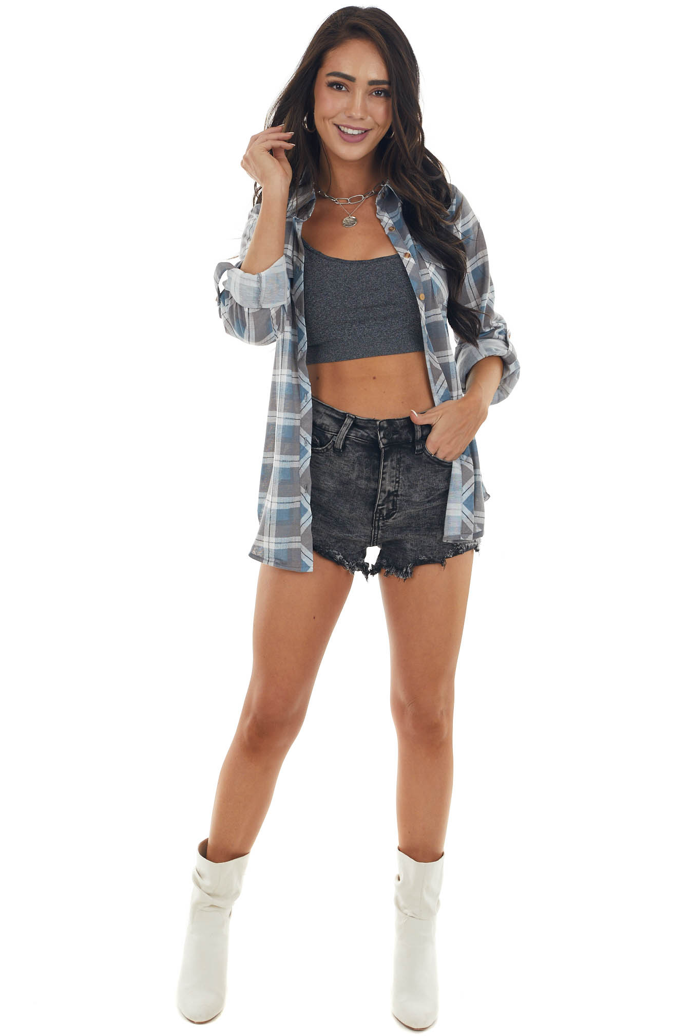 Graphite and Ocean Plaid Top with Chest Pocket