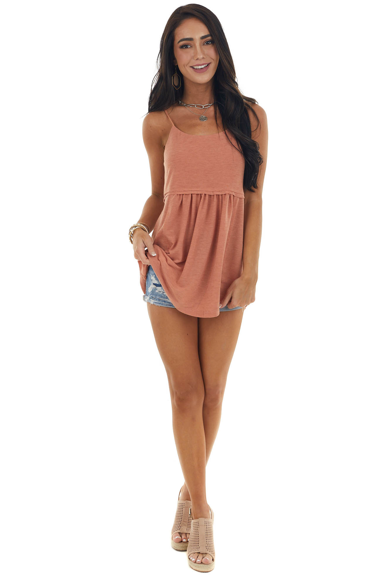 Pale Ginger Sleeveless Babydoll Top