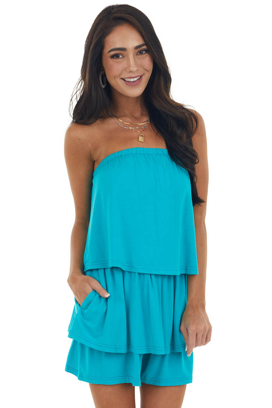 Rich Sea Blue Strapless Overlay Knit Romper