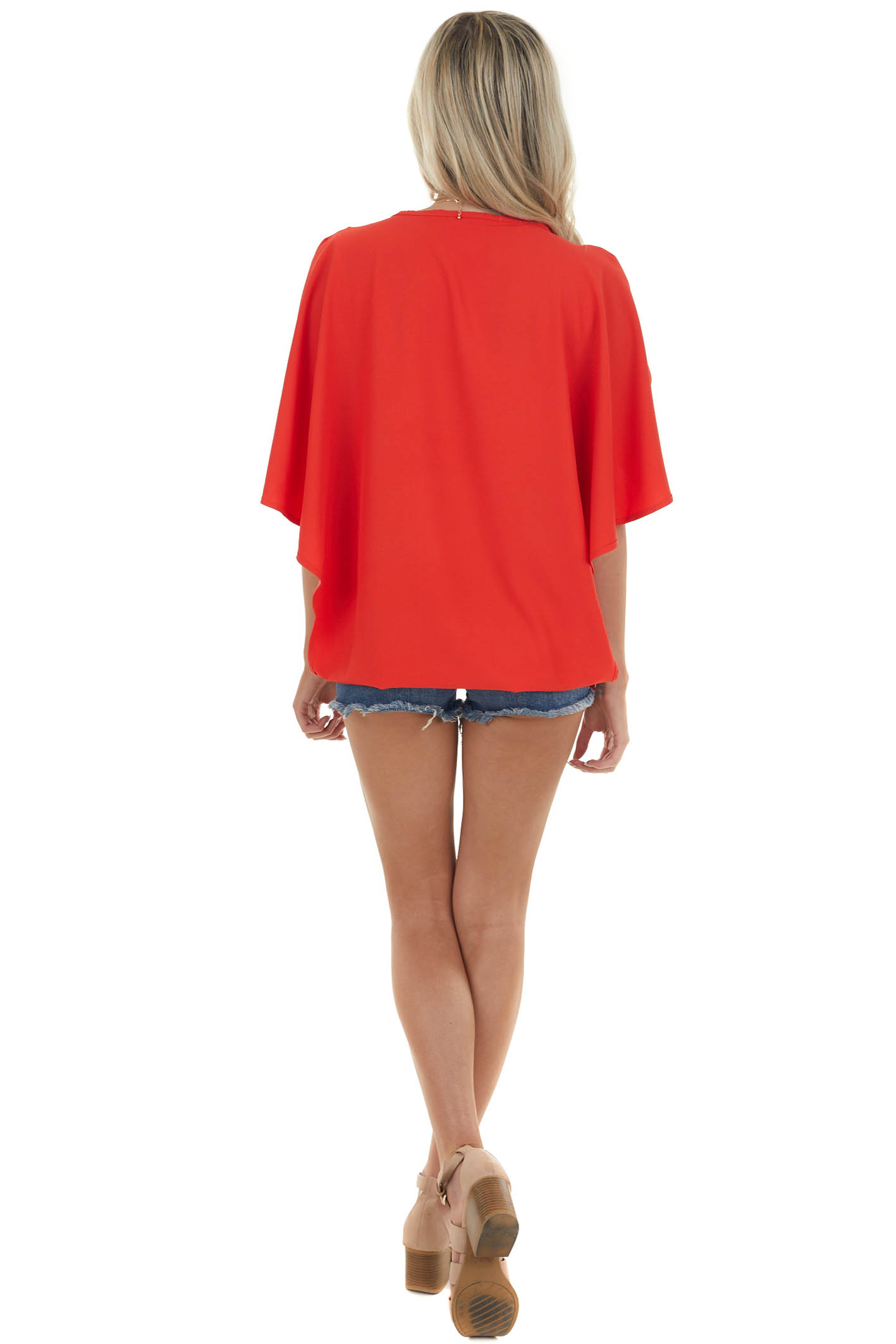 Lipstick Blouse with Back Overlay Detail