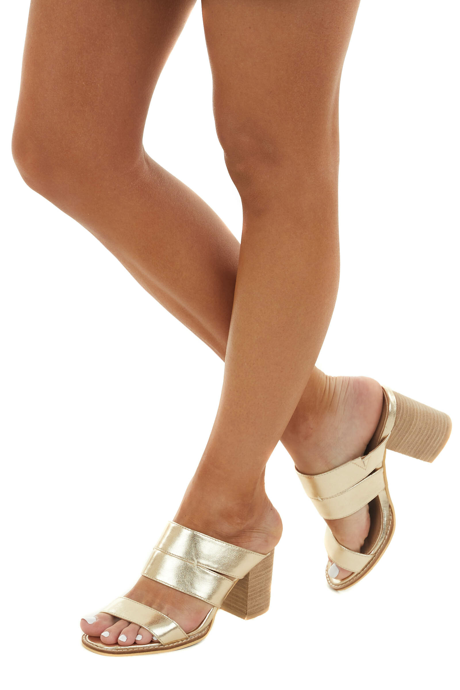 Shiny Gold Faux Leather Open Toe Heeled Mules