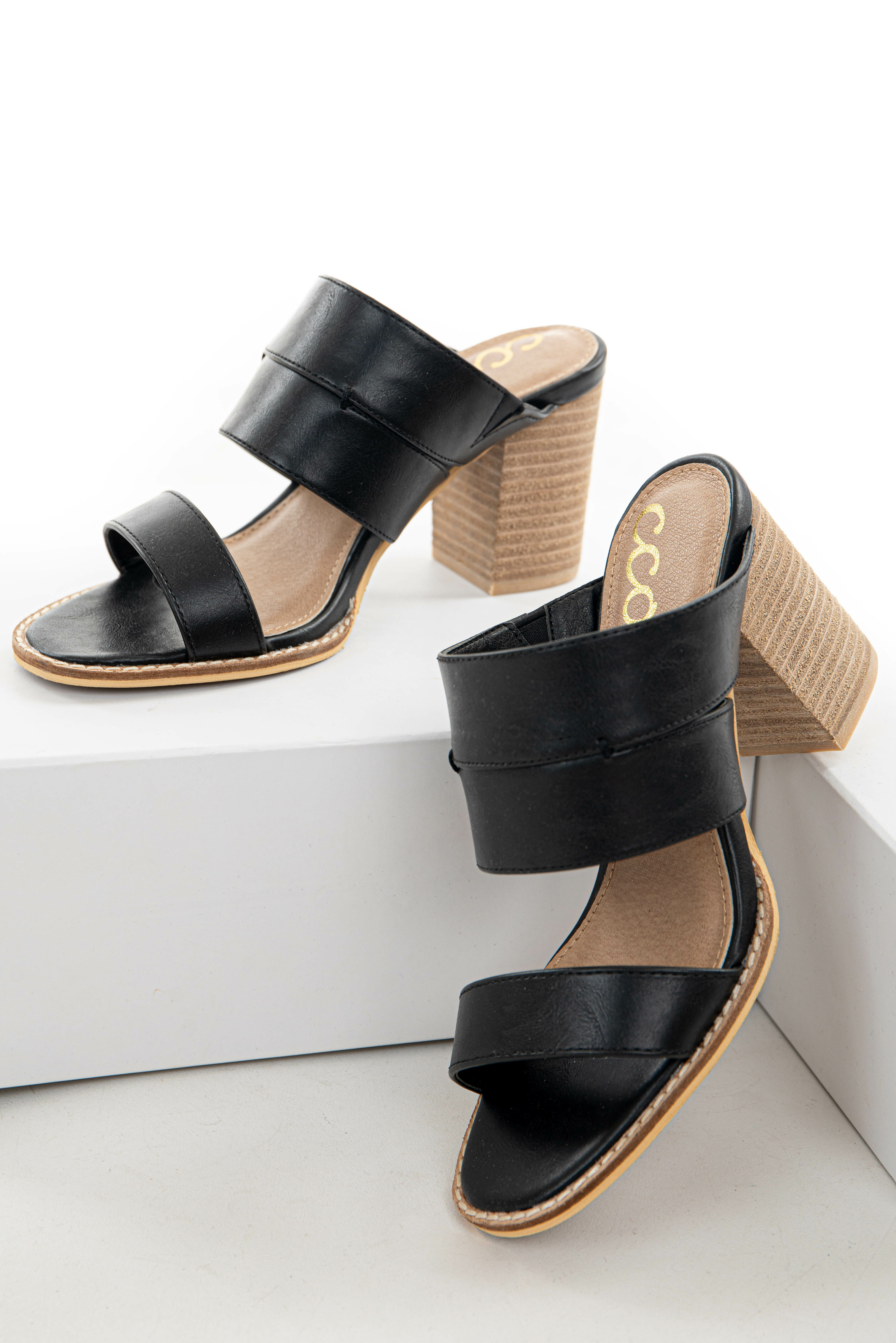 Black Faux Leather Open Toe Heeled Mules