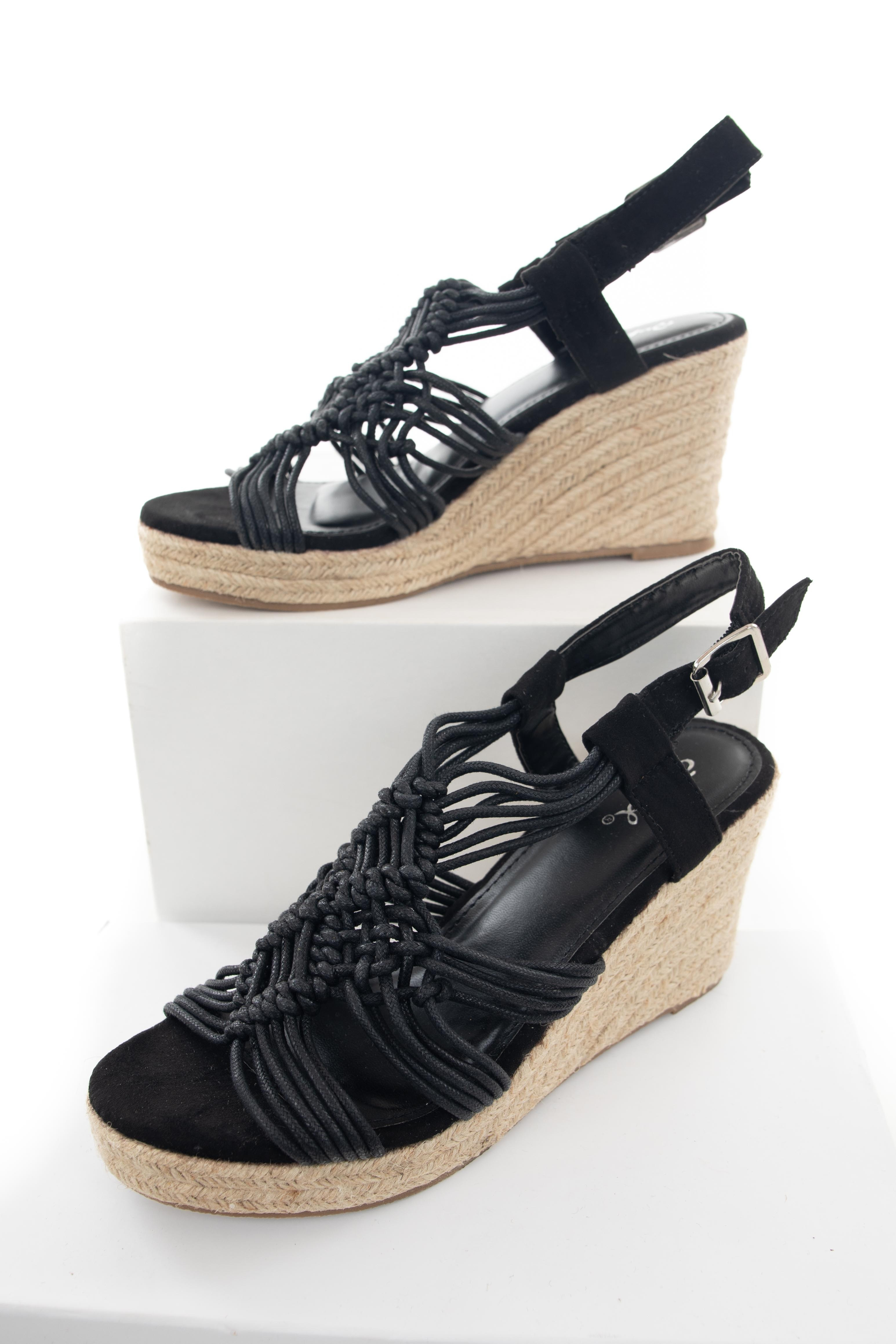 Black Woven Cord Espadrille Wedges