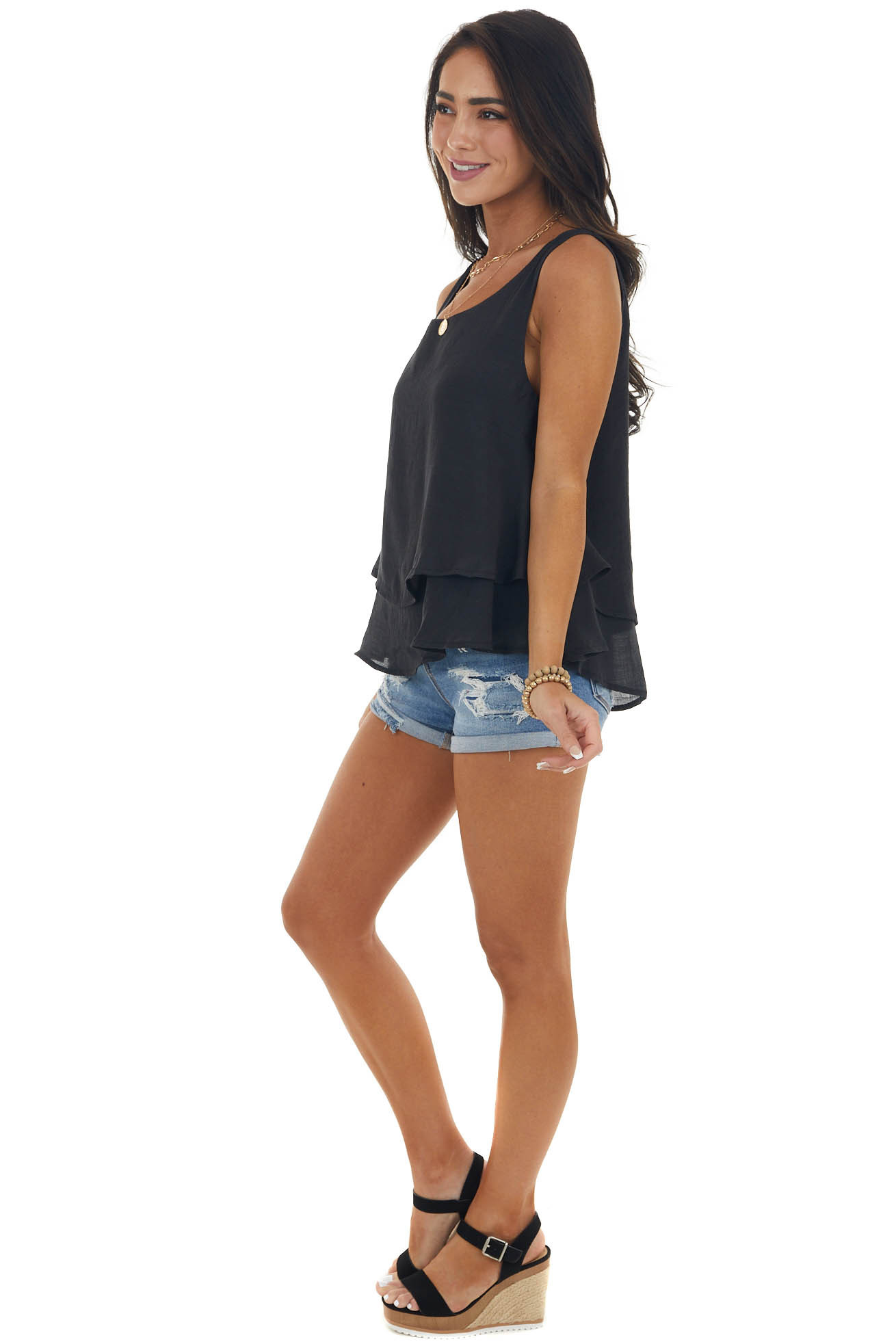 Black Round Neck Woven Tank Top with Tier Detail