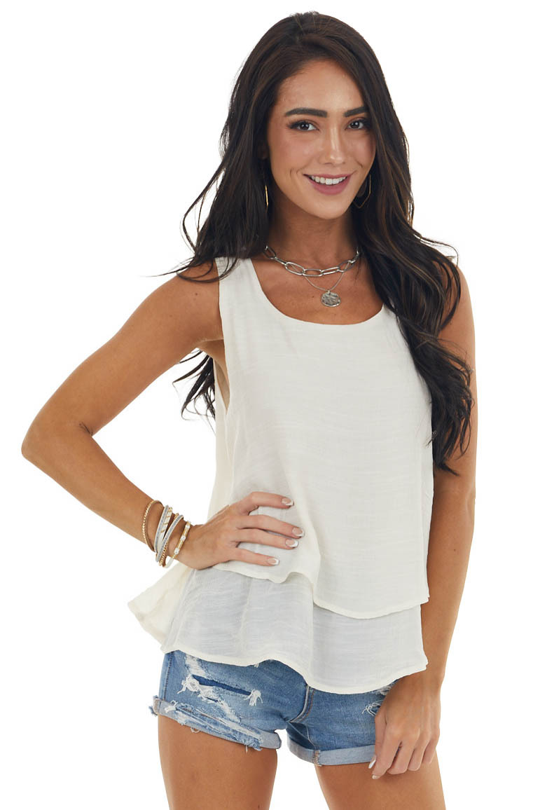 Champagne Round Neck Woven Tank Top with Tier Detail