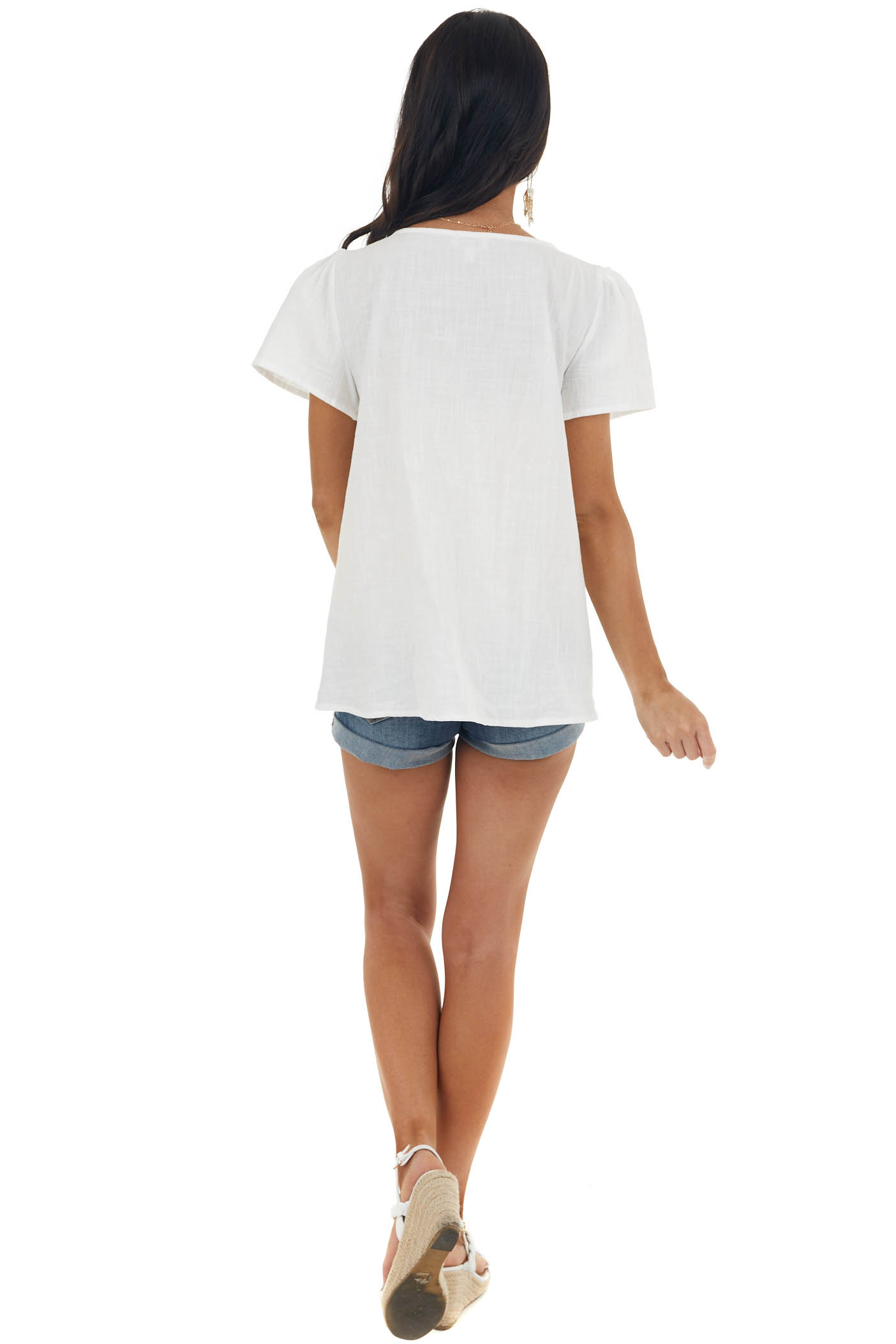 Off White Square Neck Puff Sleeve Blouse