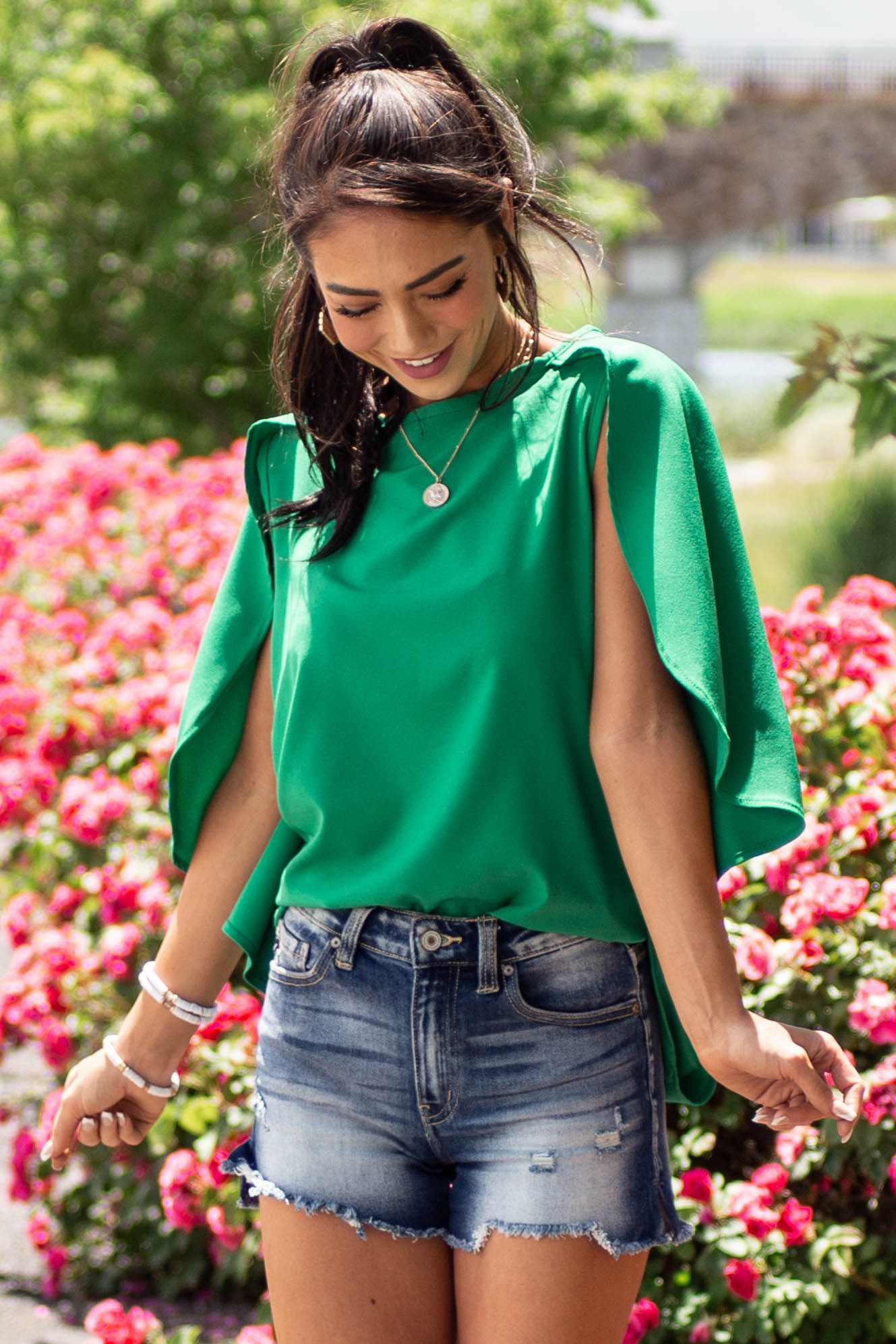Jade Blouse with Back Overlay Detail
