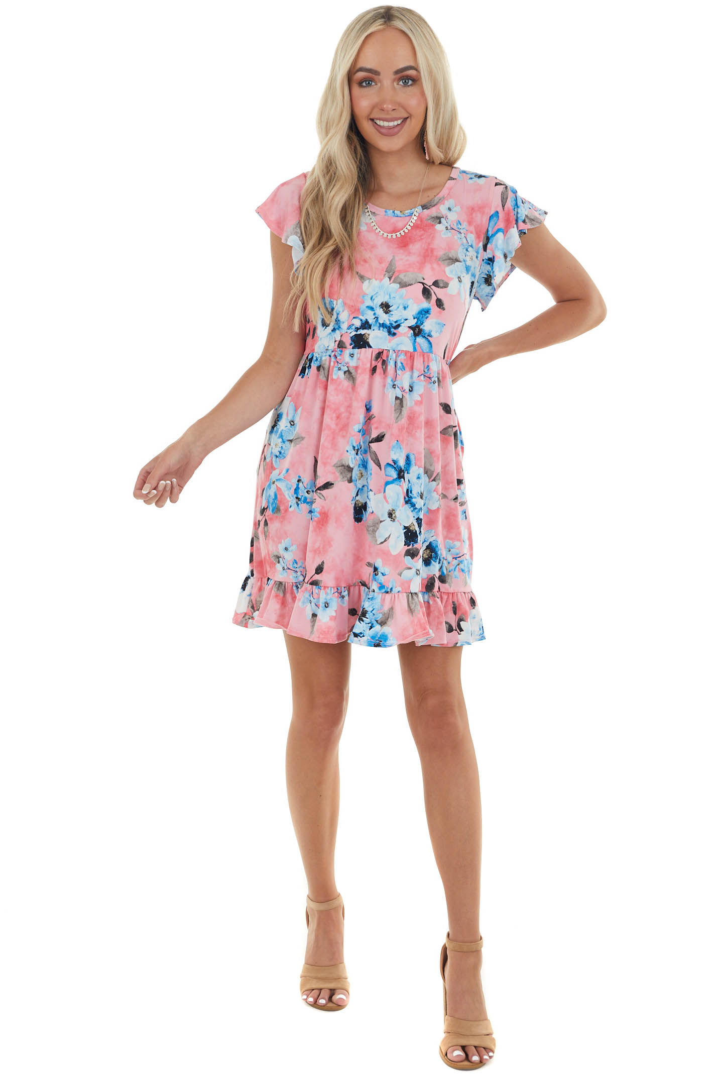 Watermelon Floral Short Dress with Pockets