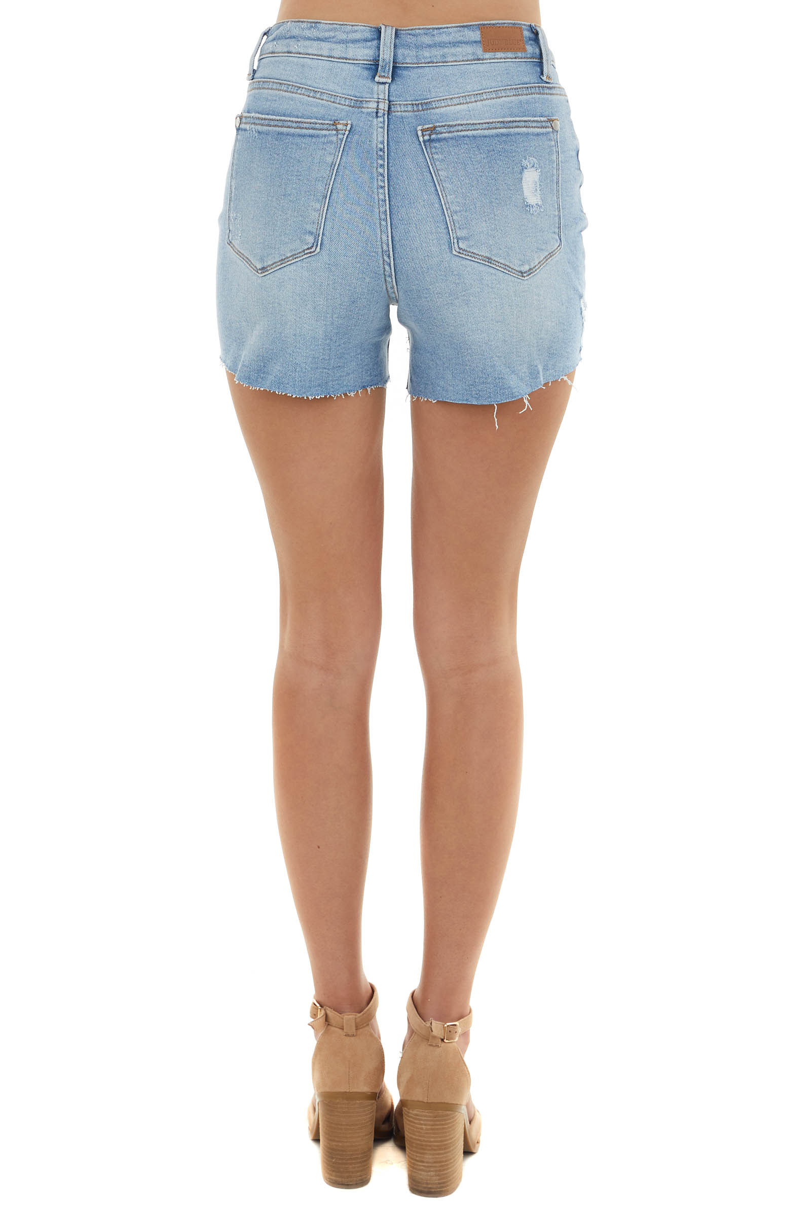 Light Wash Denim Shorts with Distressed Detail