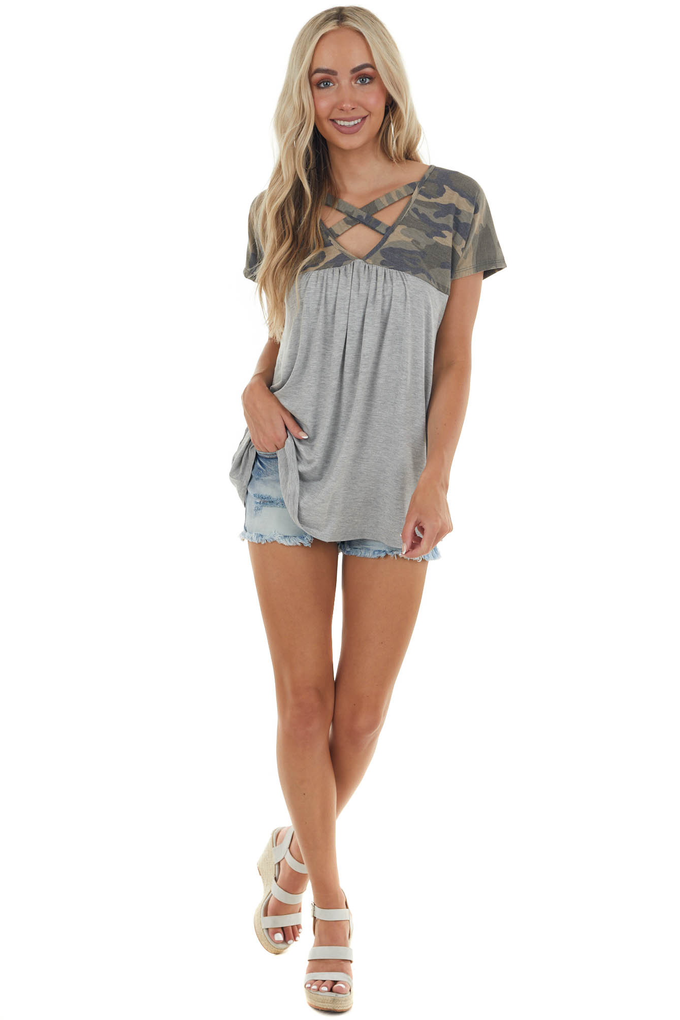 Olive Camo and Heather Grey Short Sleeve Top