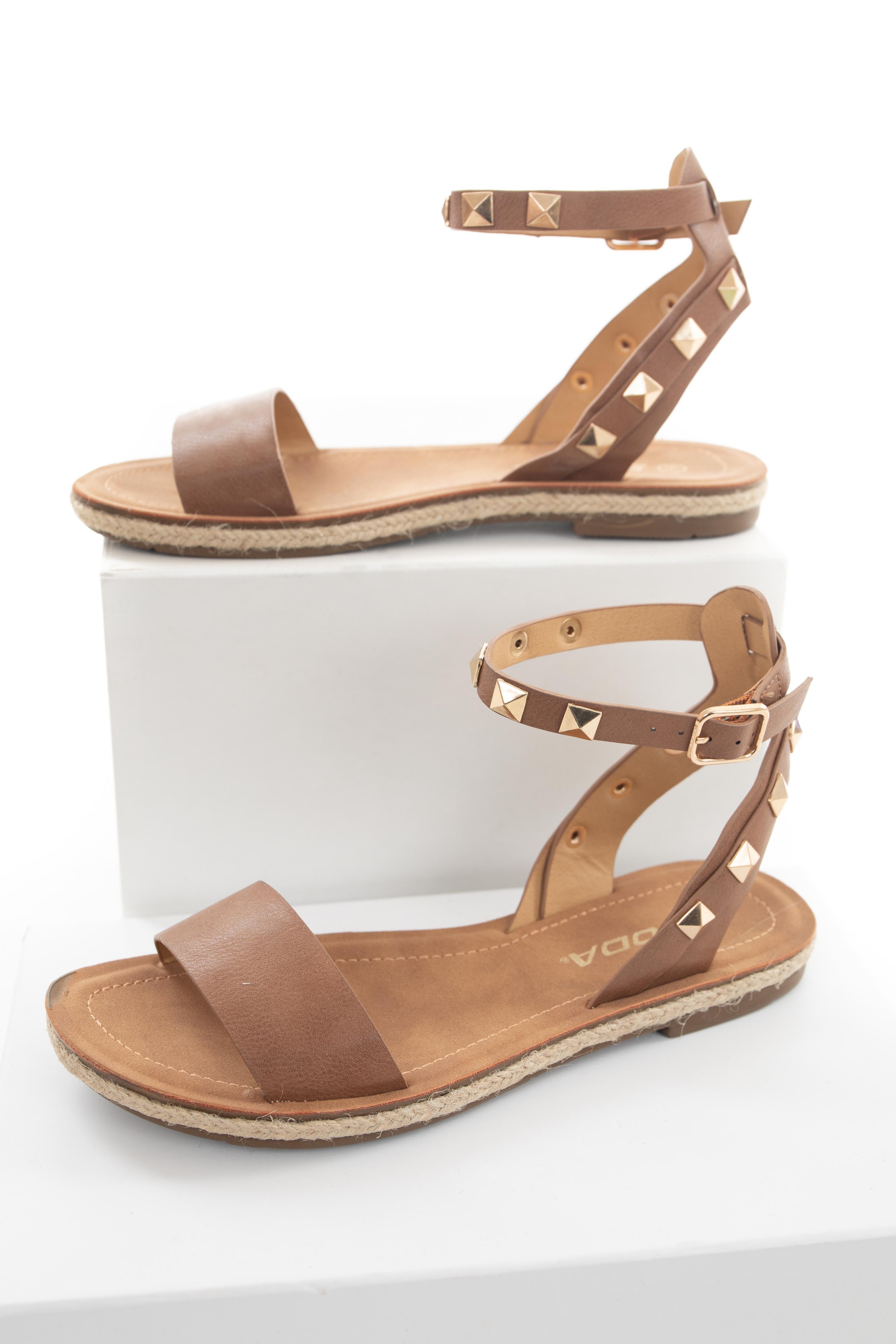 Cognac and Gold Studded Sandals