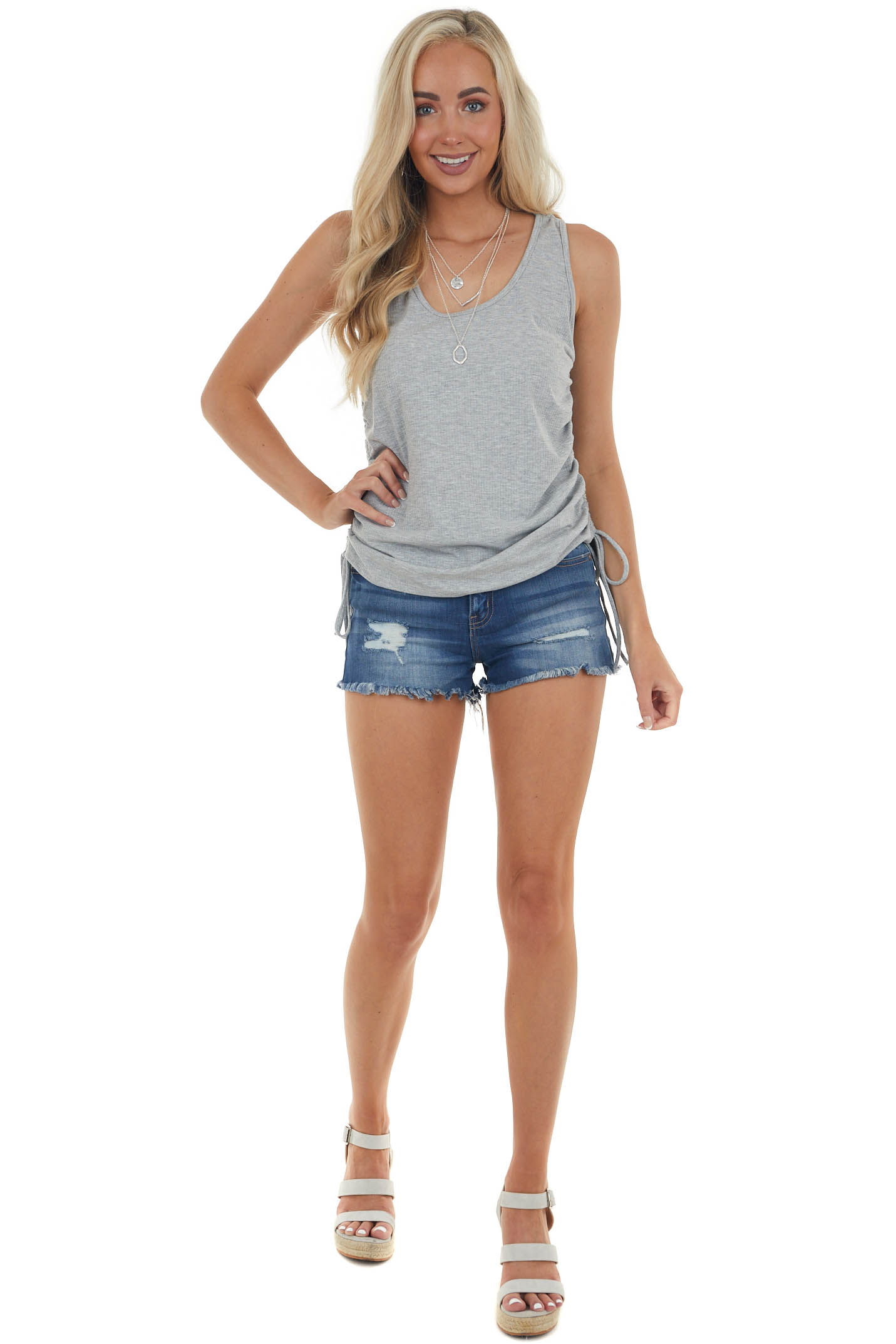 Steel Ribbed Sleeveless Top with Ruched Side Detail
