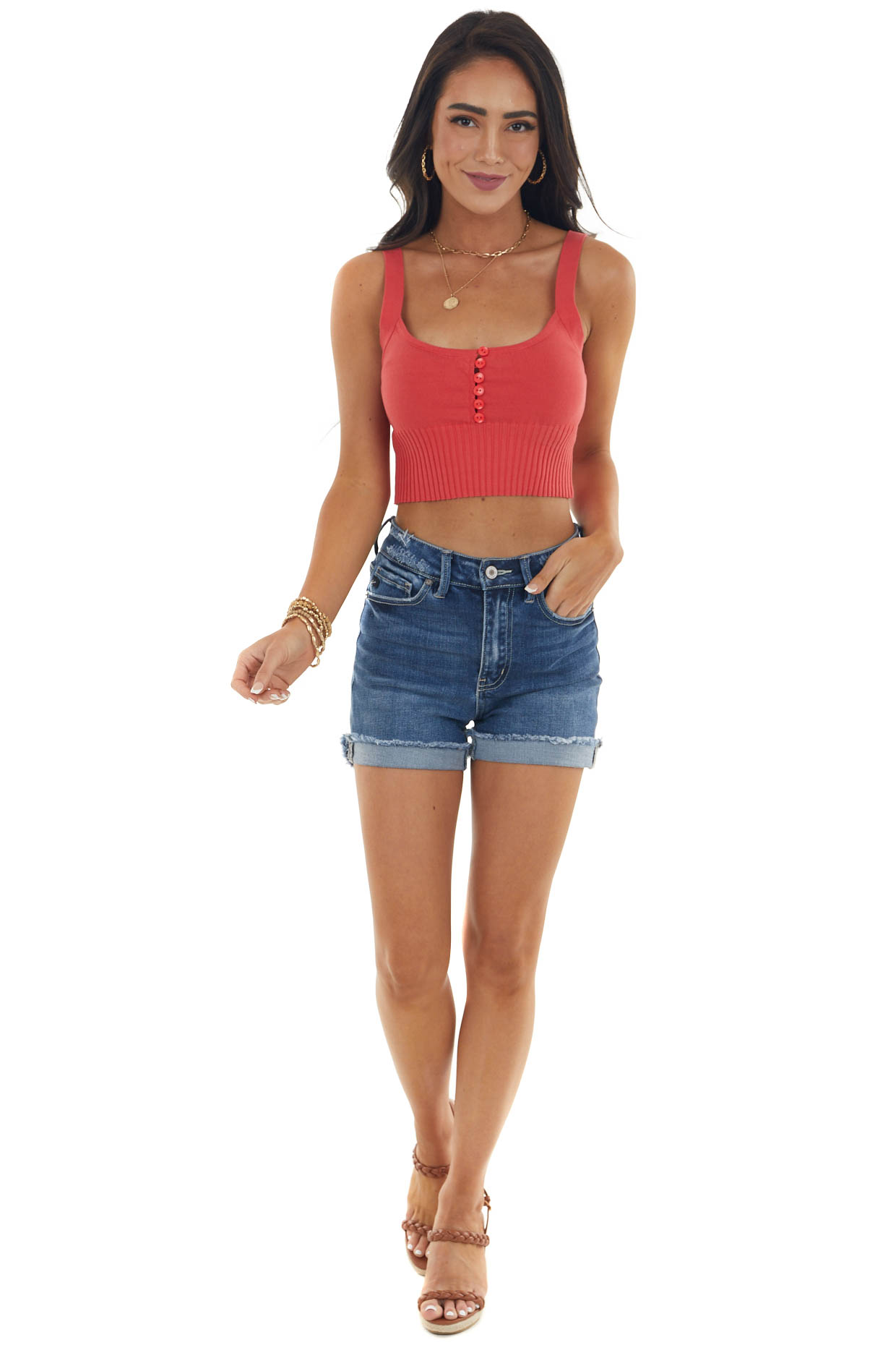 Scarlet Sleeveless Knit Crop Top with Buttons