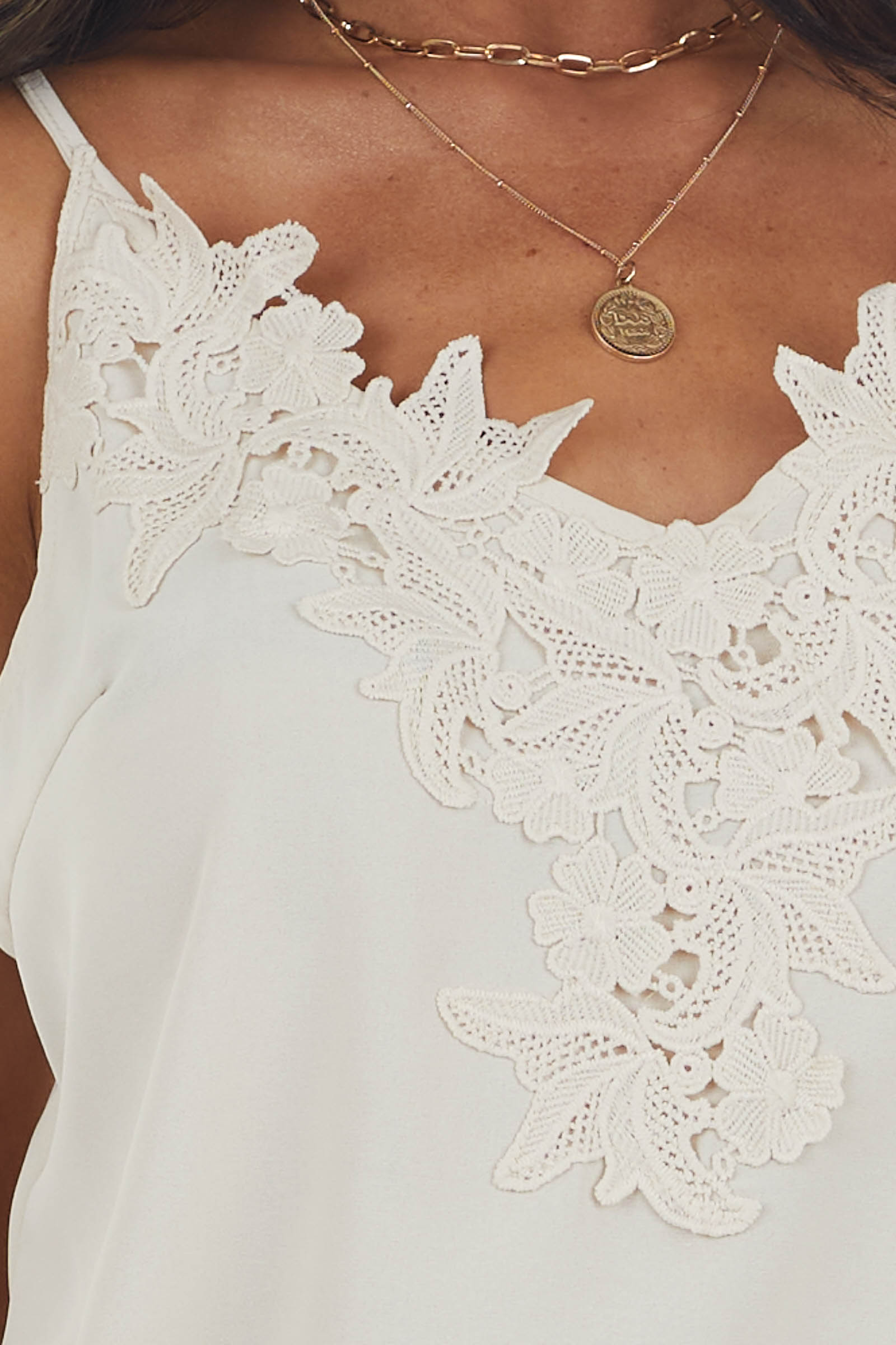 Cream Woven Camisole with Floral Lace V Neck