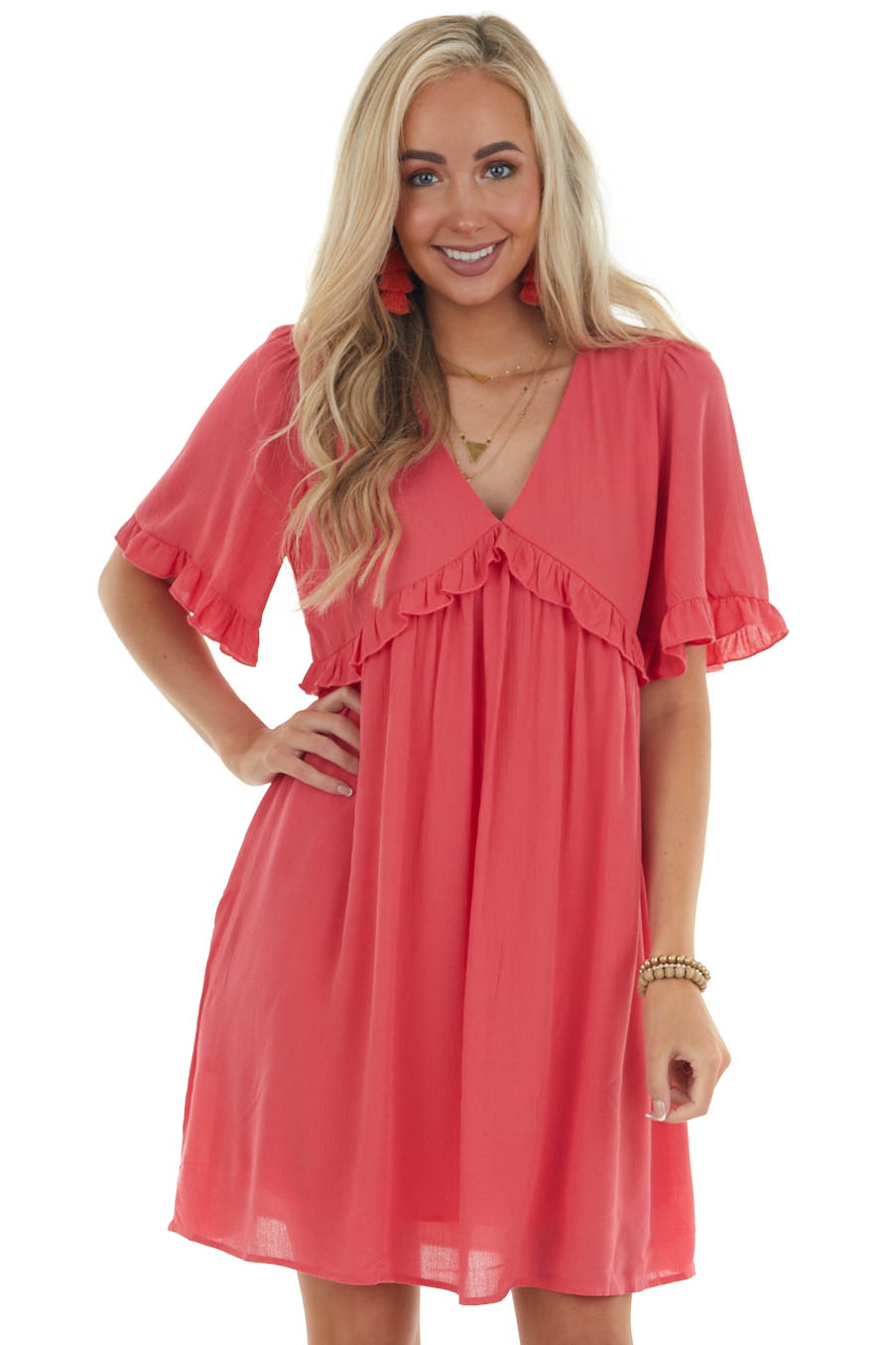 Punch Frilled Babydoll Dress with Keyhole