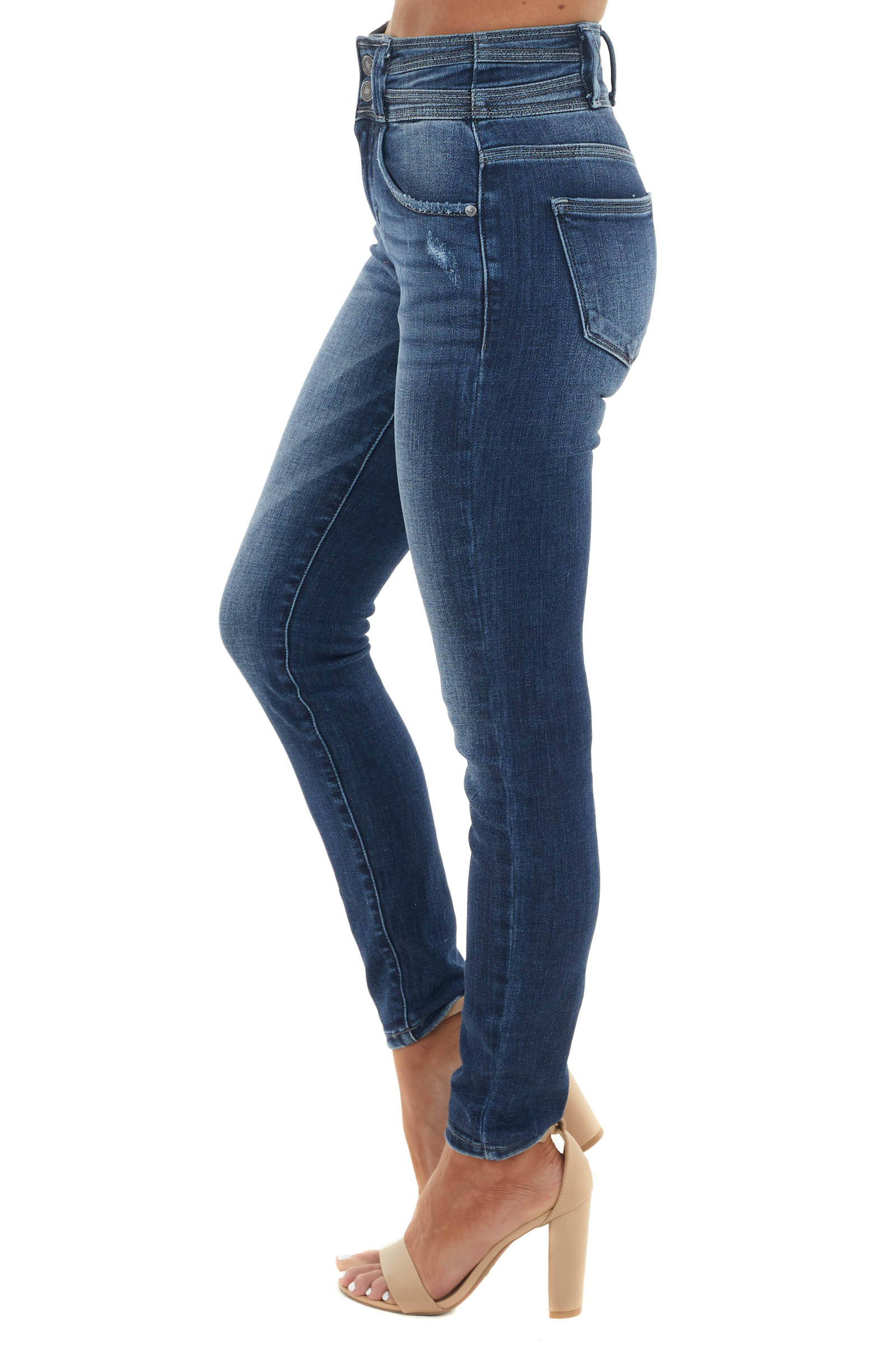 Dark Wash High Rise Double Button Skinny Jeans