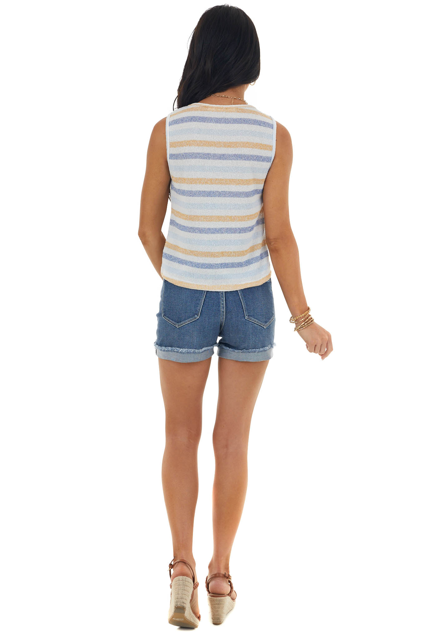 Off White Striped Front Knot Knit Tank Top