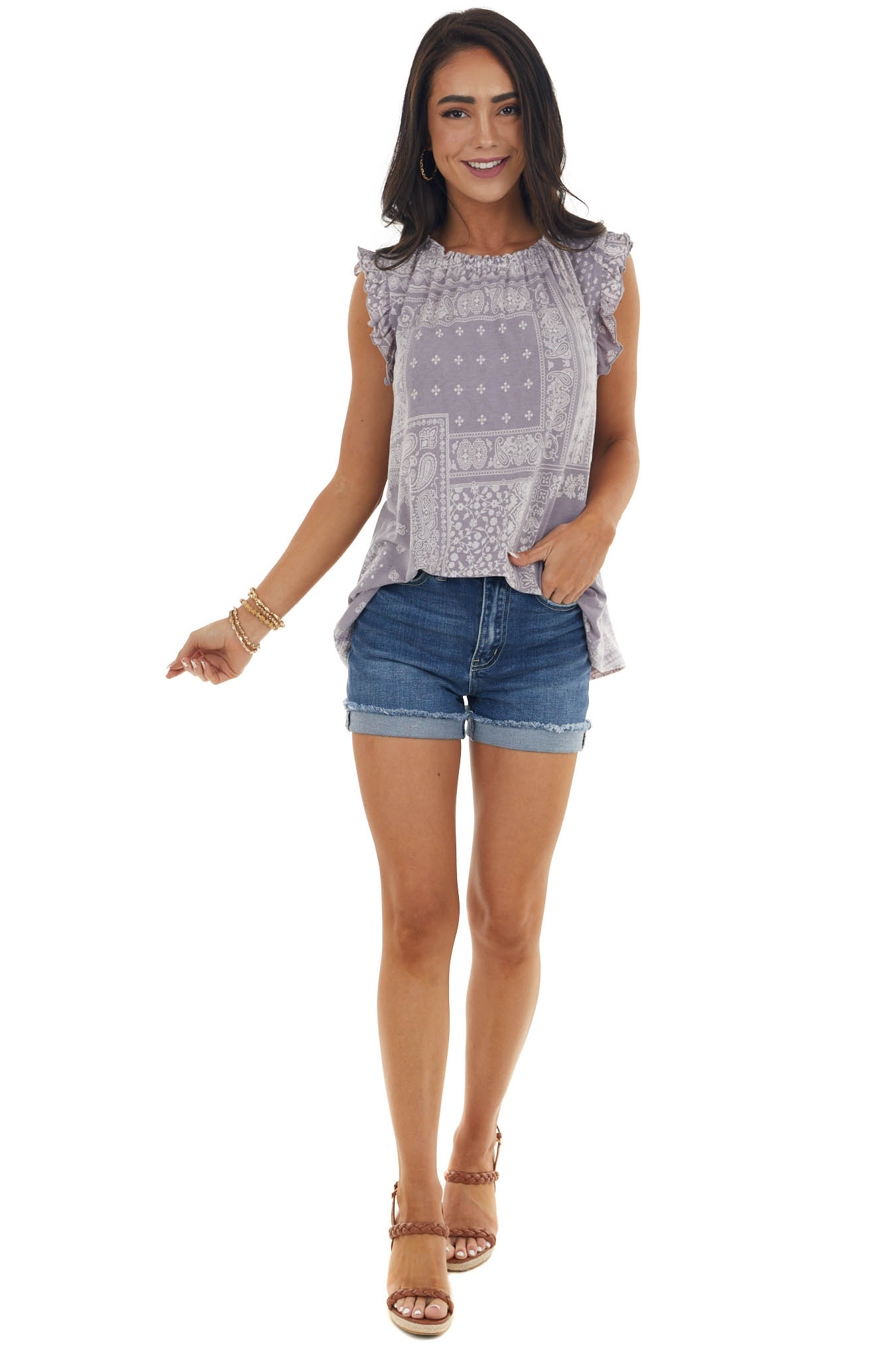Lavender Abstract Print Sleeveless Flowy Top