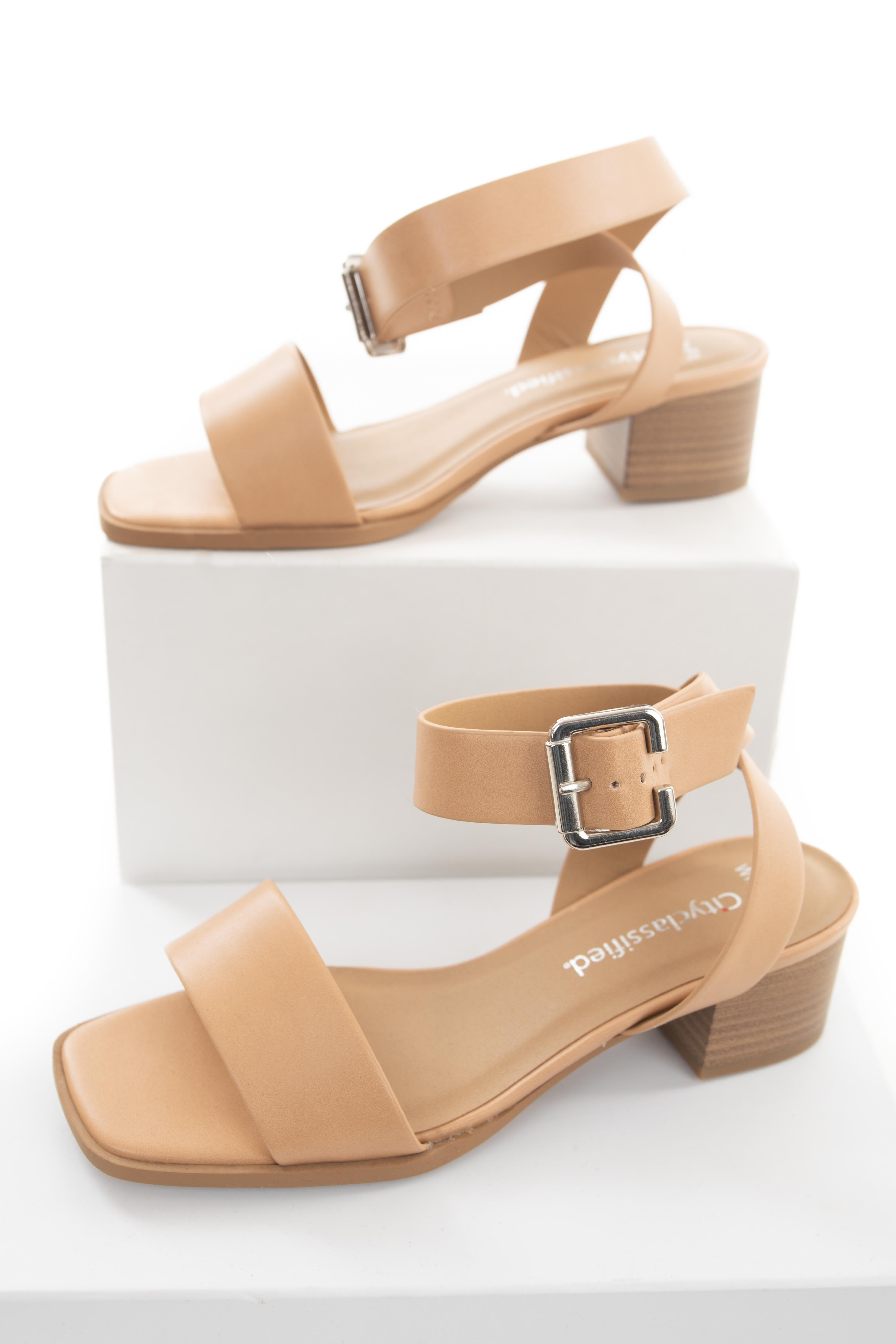 Desert Sand Ankle Strap Sandals with Silver Buckle