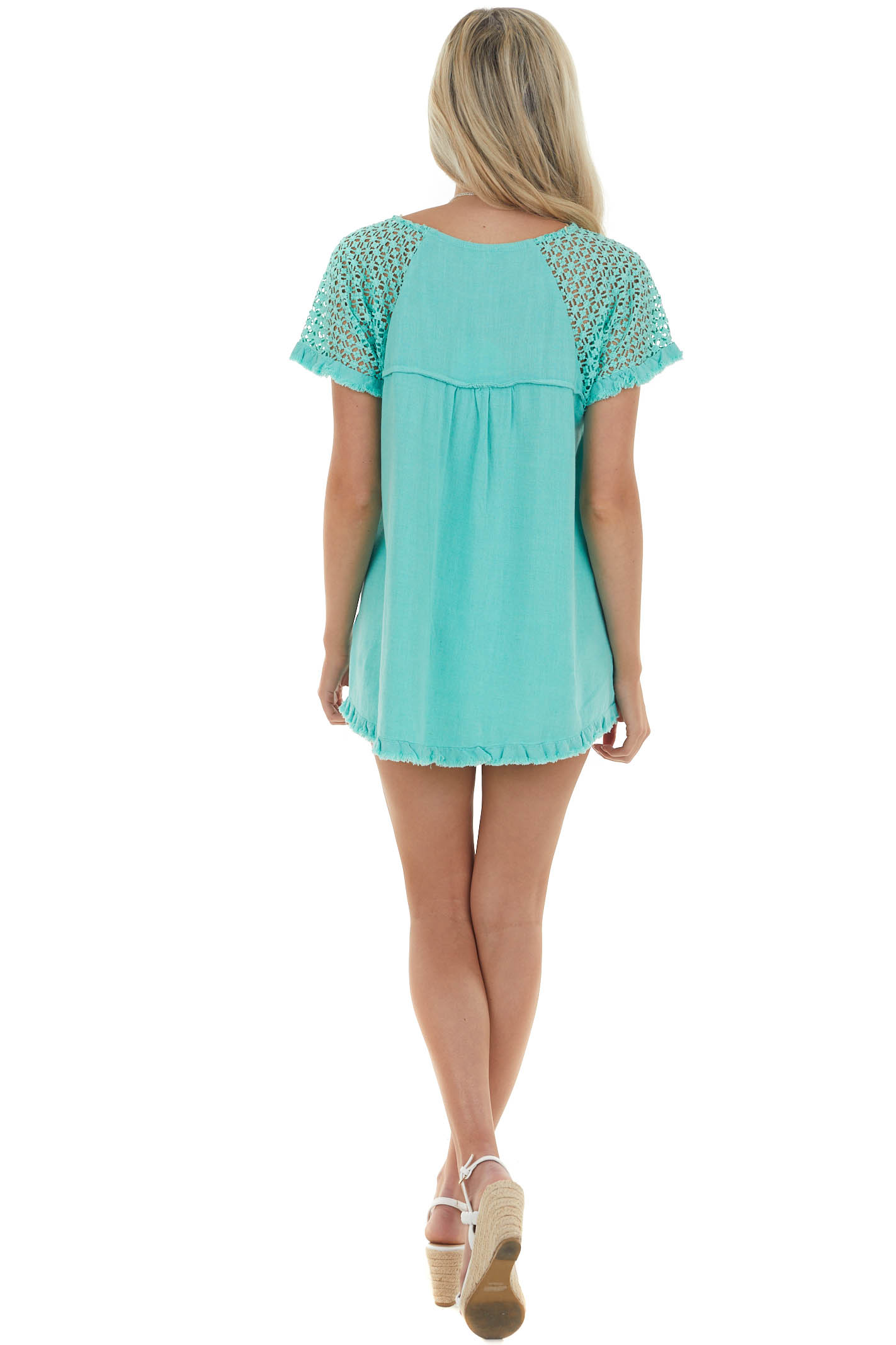 Jungle Green Textured Short Sleeve Top with Fray Details