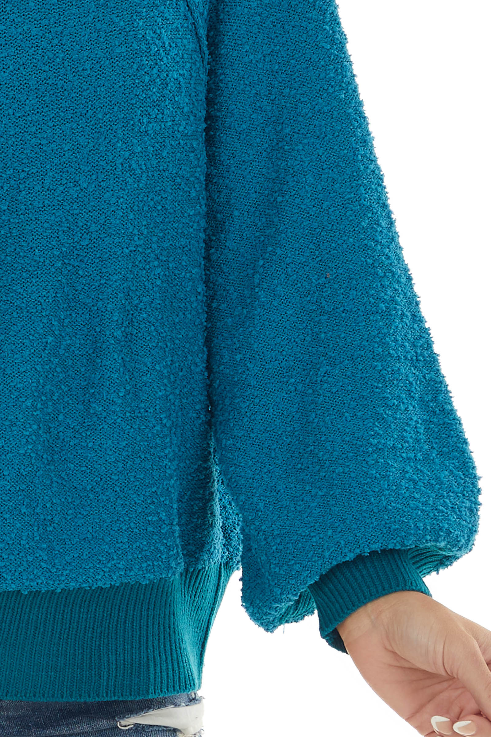 Sea Blue Textured Bubble Sleeve Knit Sweater