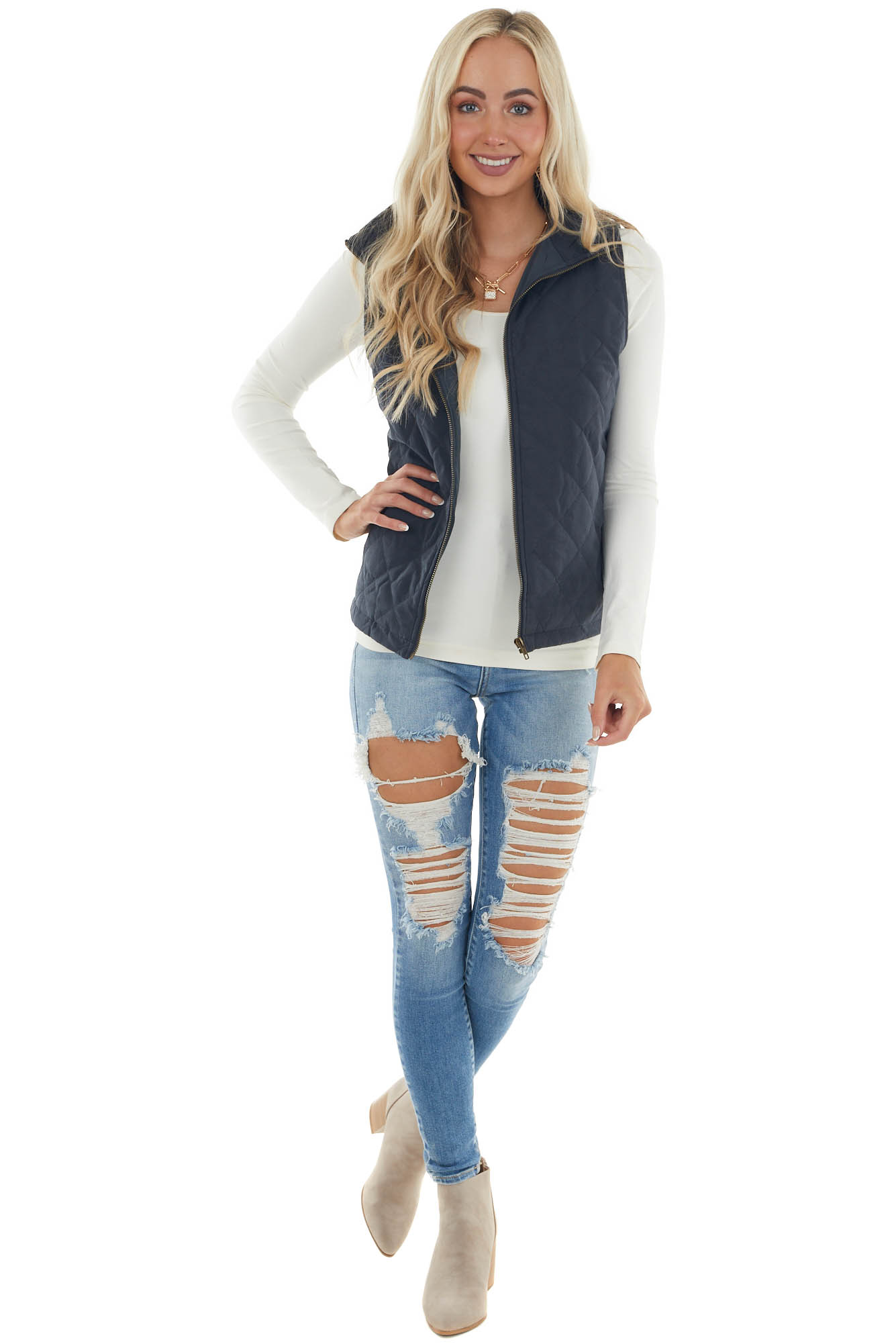 Navy Quilted Zip Up Vest with Pockets