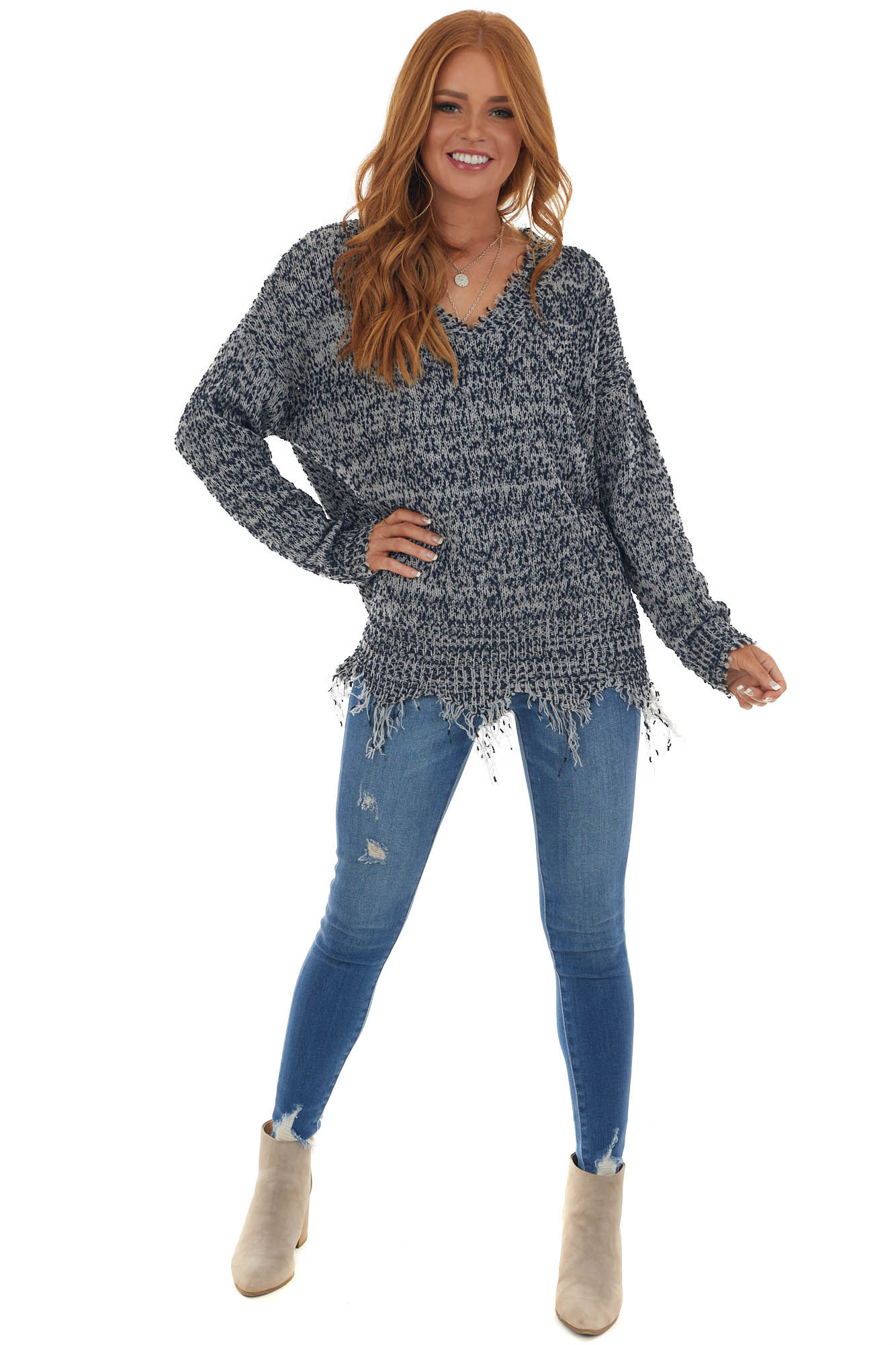 Navy and Dove V Neck Sweater with Distressed Details