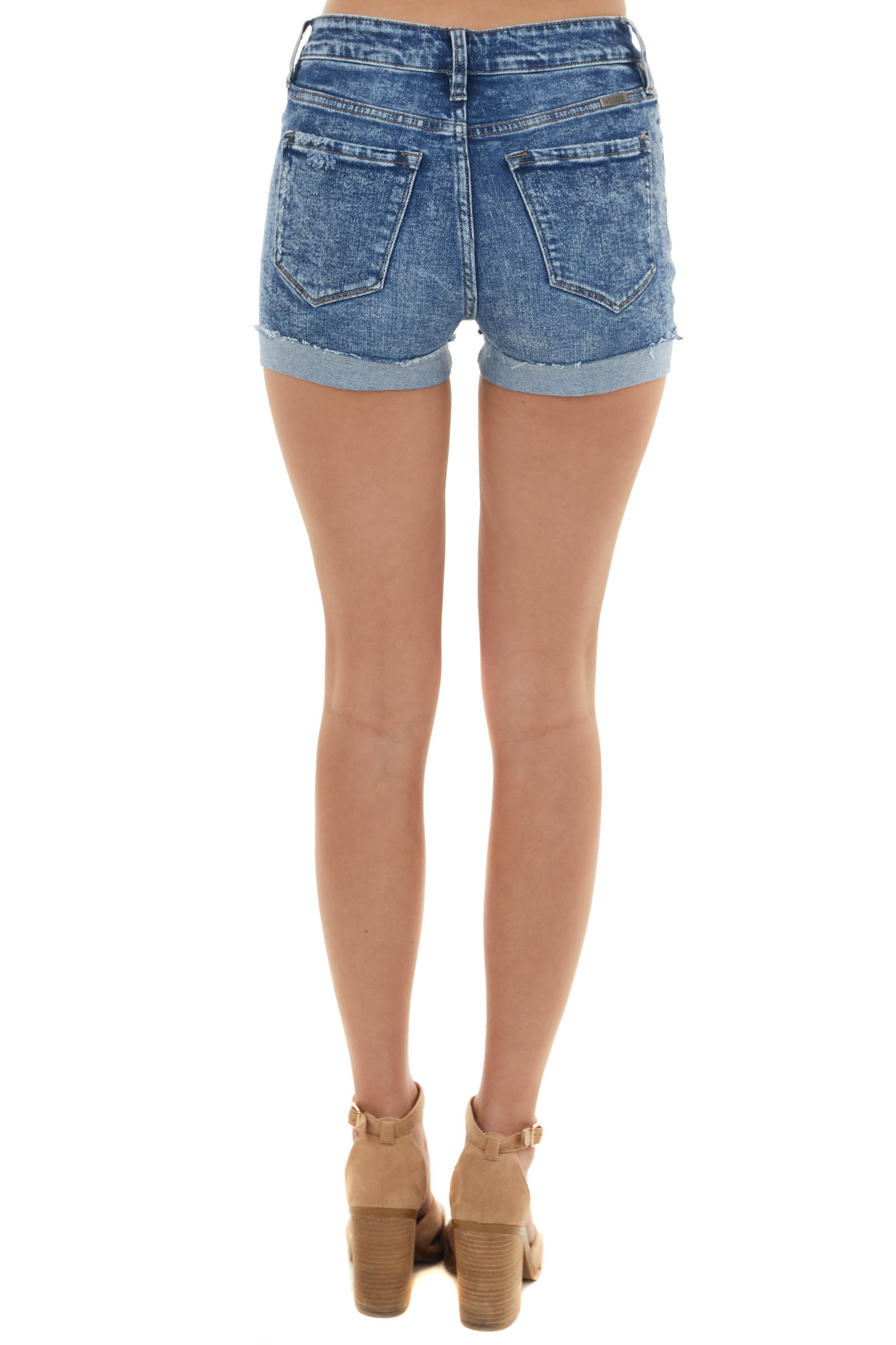 Dark Wash High Rise Shorts with Distress and Button Detail