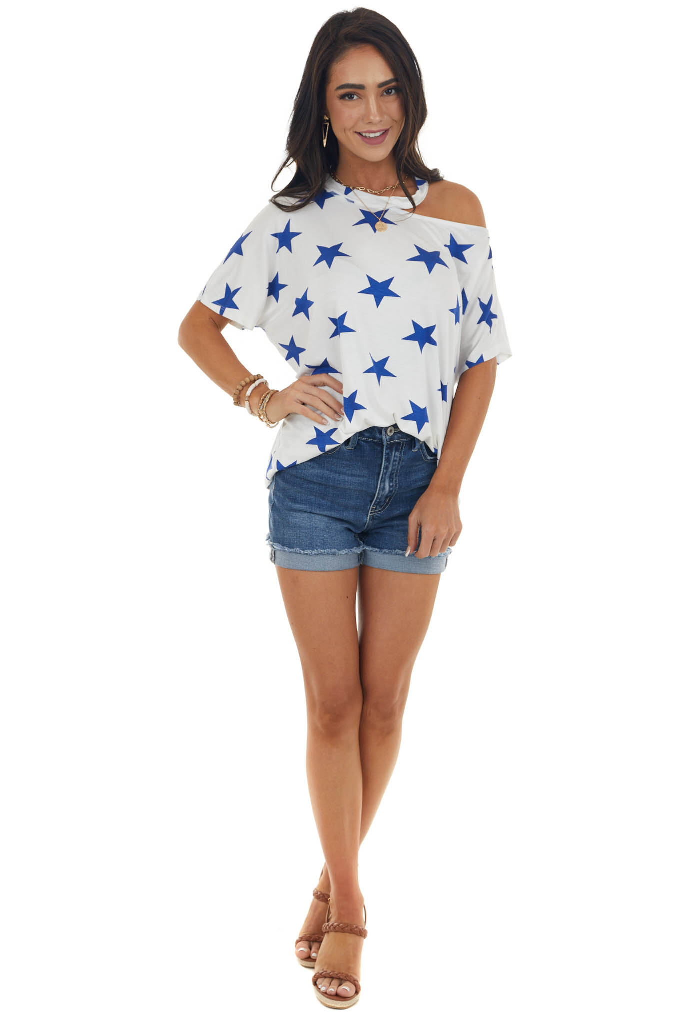 White and Navy Star Print Single Cold Shoulder Top