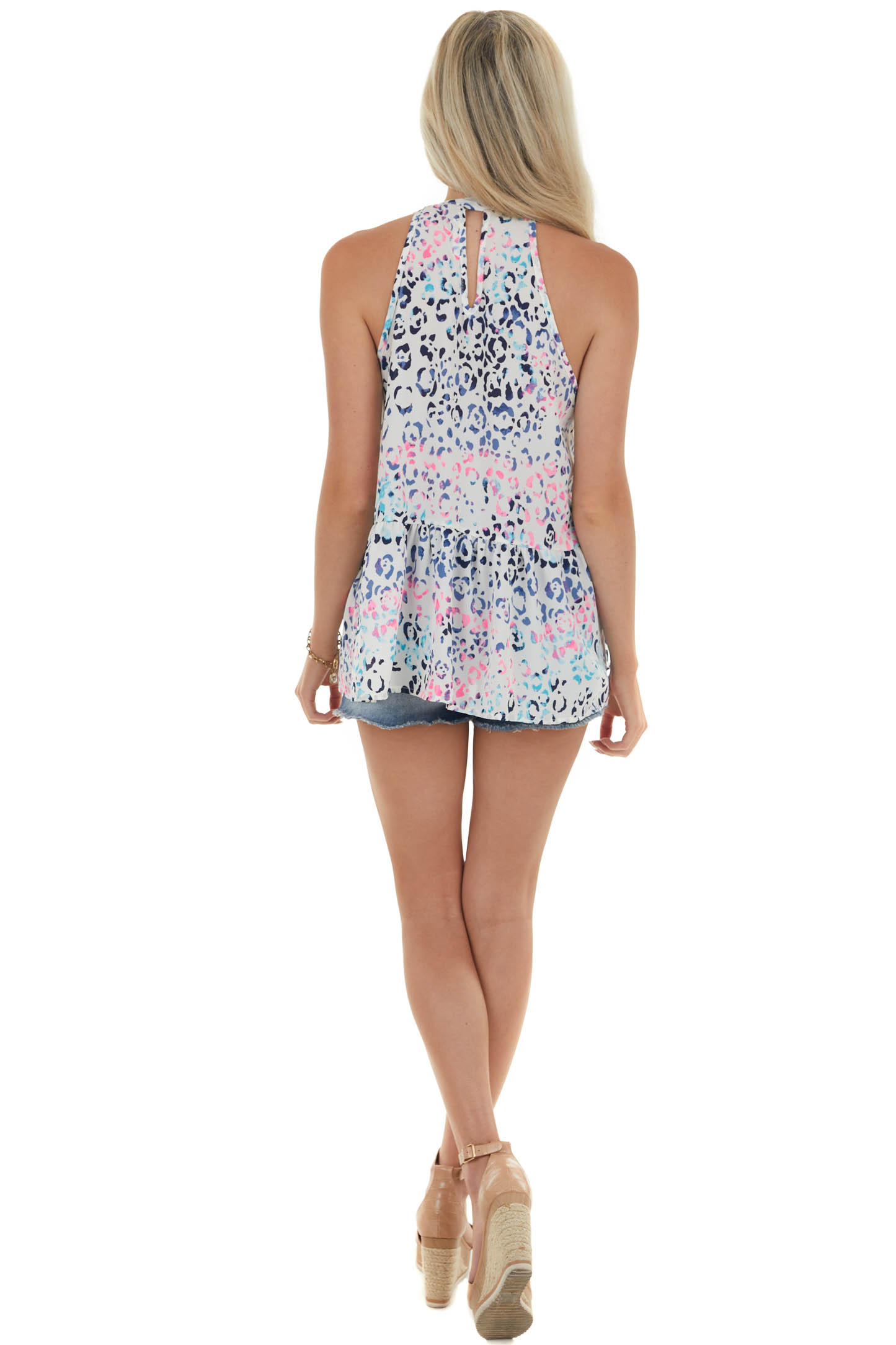 Off White Colorful Leopard Halter Neck Top
