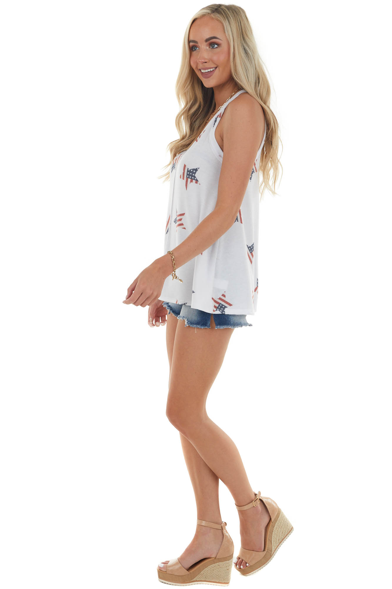 White and American Flag Star Print Sleeveless Top