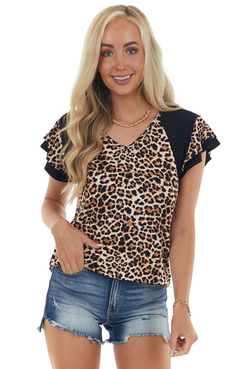 Black Leopard Print Knit Top with Short Sleeves