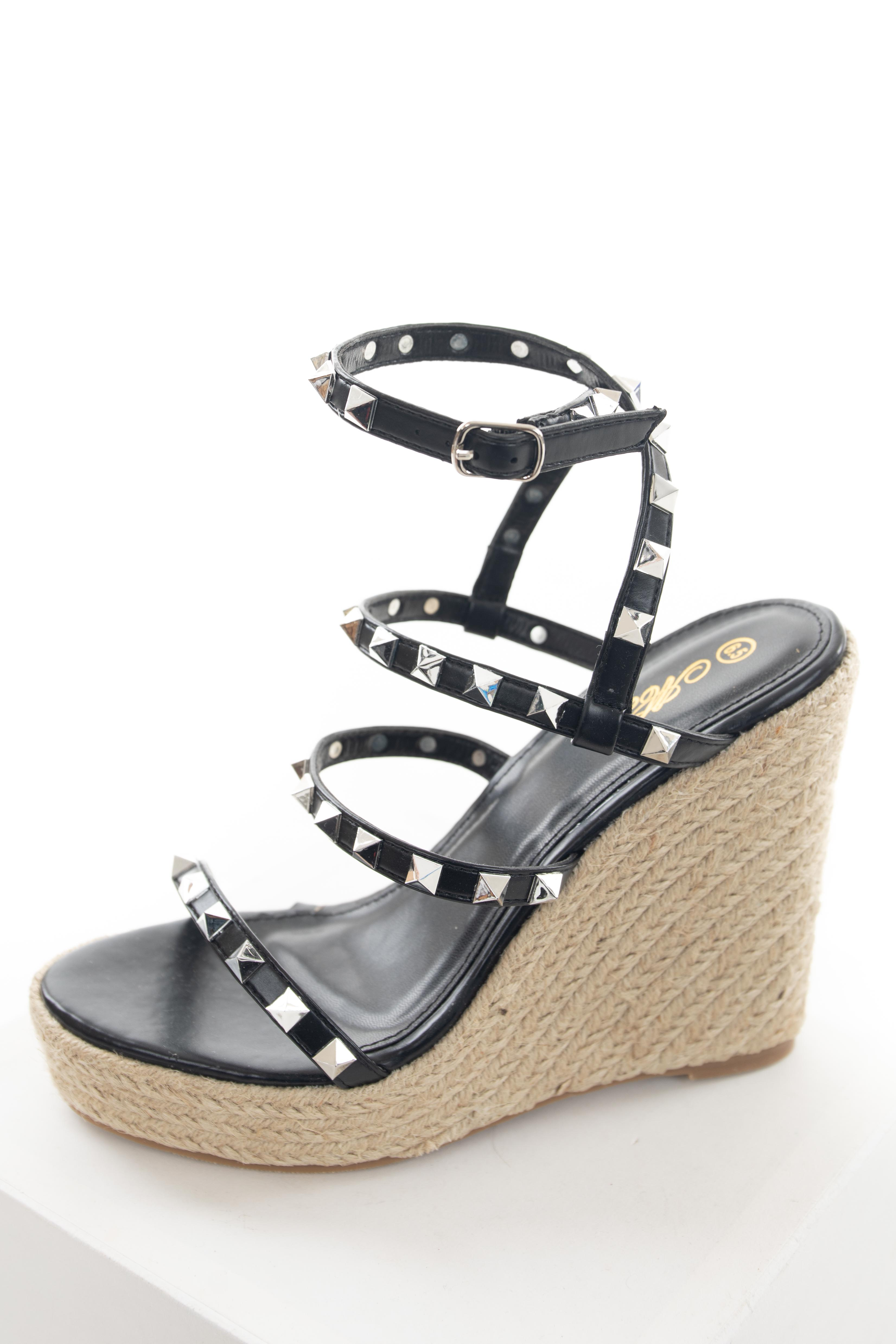 Black Faux Leather Studded Espadrille Wedges