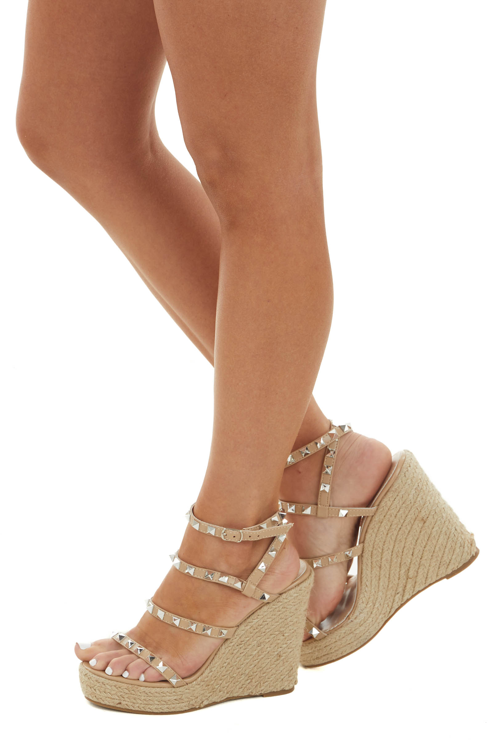 Latte Faux Leather Studded Espadrille Wedges
