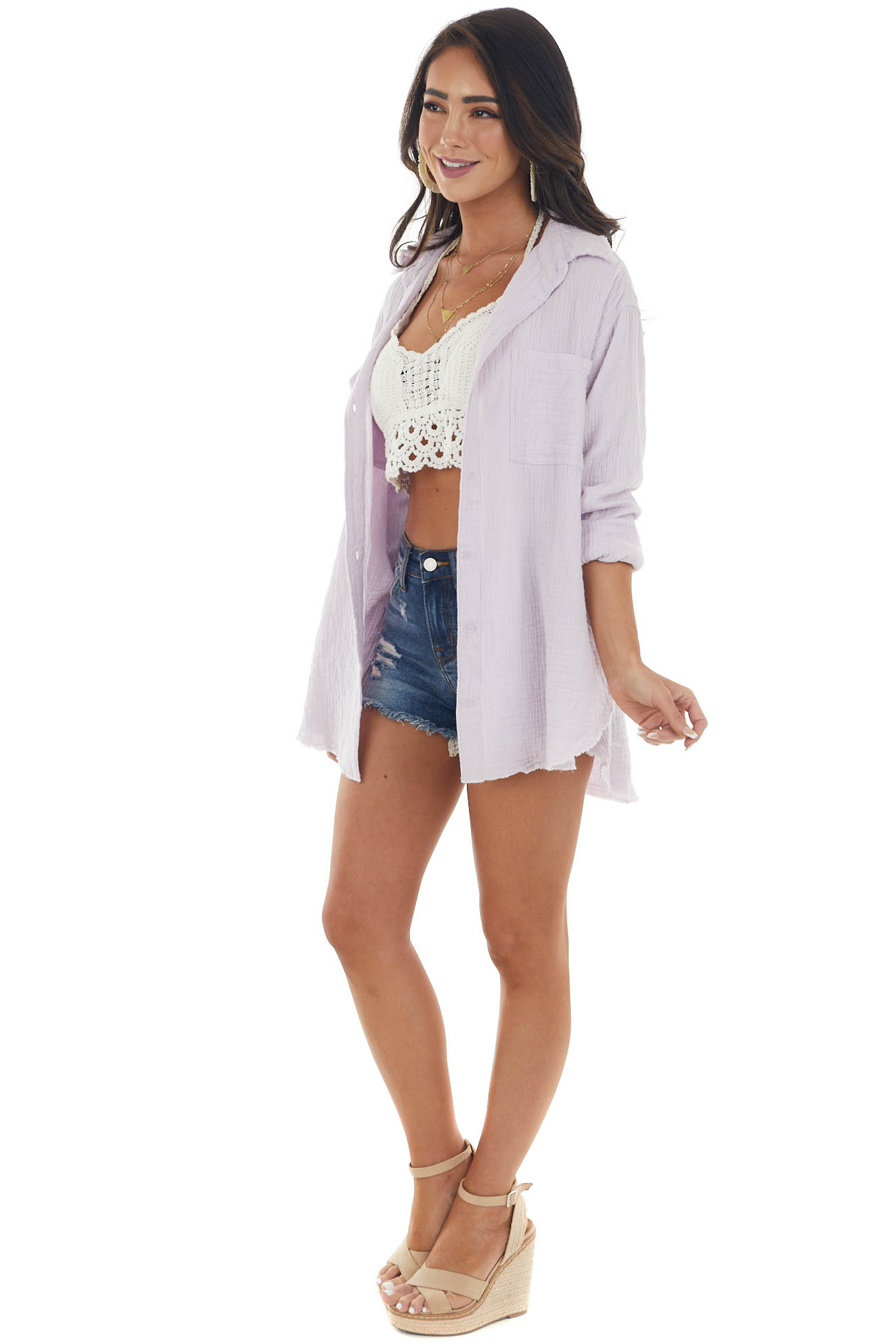 Thistle Button Up Top with Frayed Edges Detail